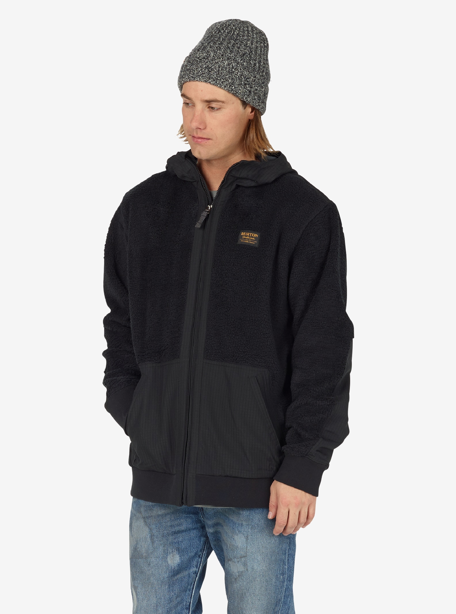Men's Burton Tribute Full-Zip Fleece shown in True Black