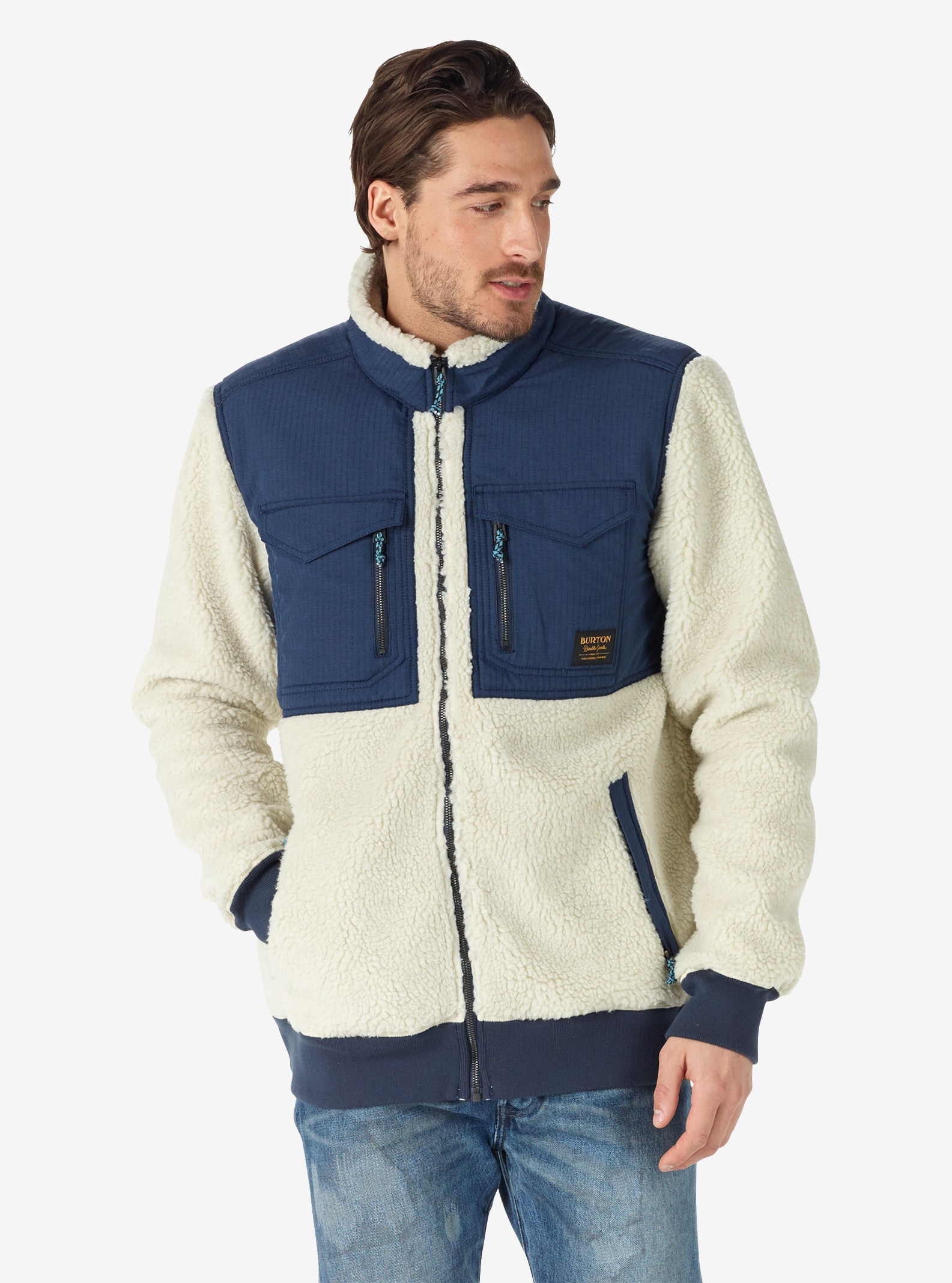 Men's Burton Bower Full-Zip Fleece shown in Bone White