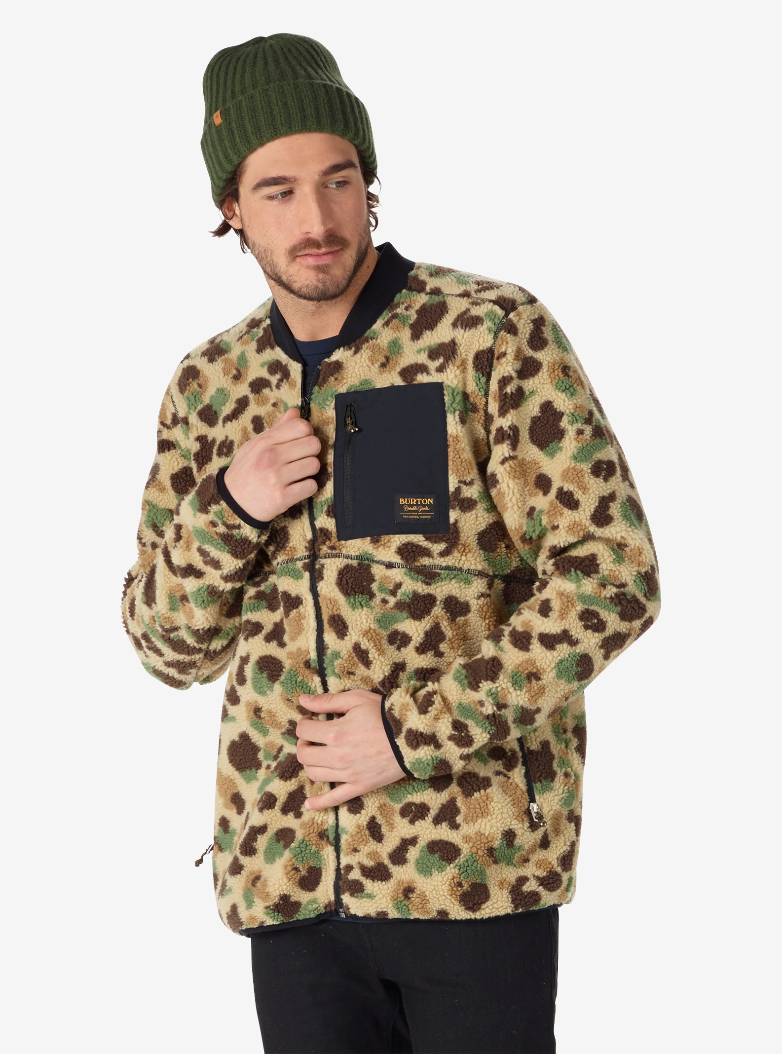 Men's Burton Grove Full-Zip Fleece shown in Duck Camo Jacquard