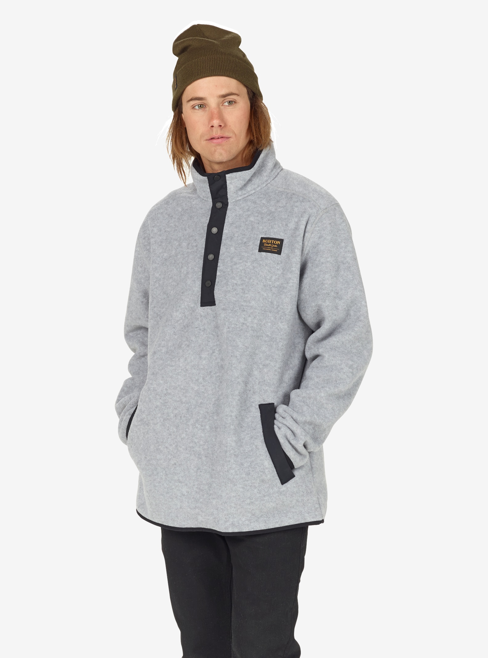 Men's Burton Hearth Fleece Anorak shown in Shade Heather
