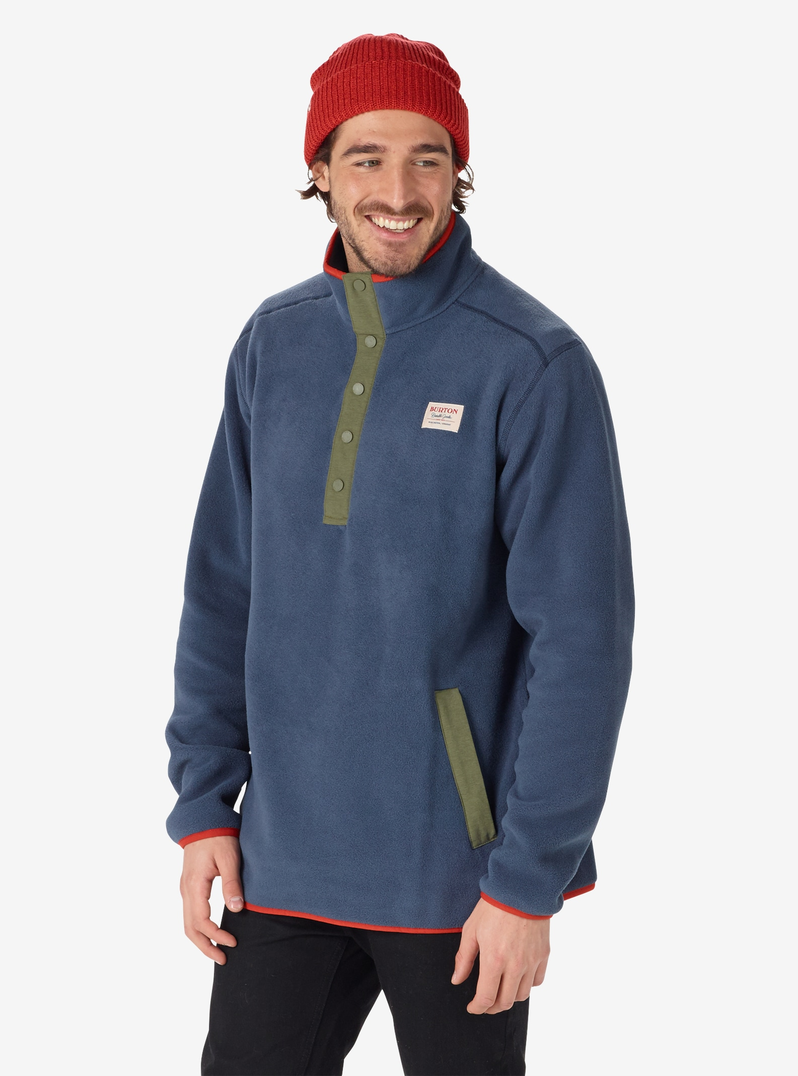 Men's Burton Hearth Fleece Anorak shown in Mood Indigo