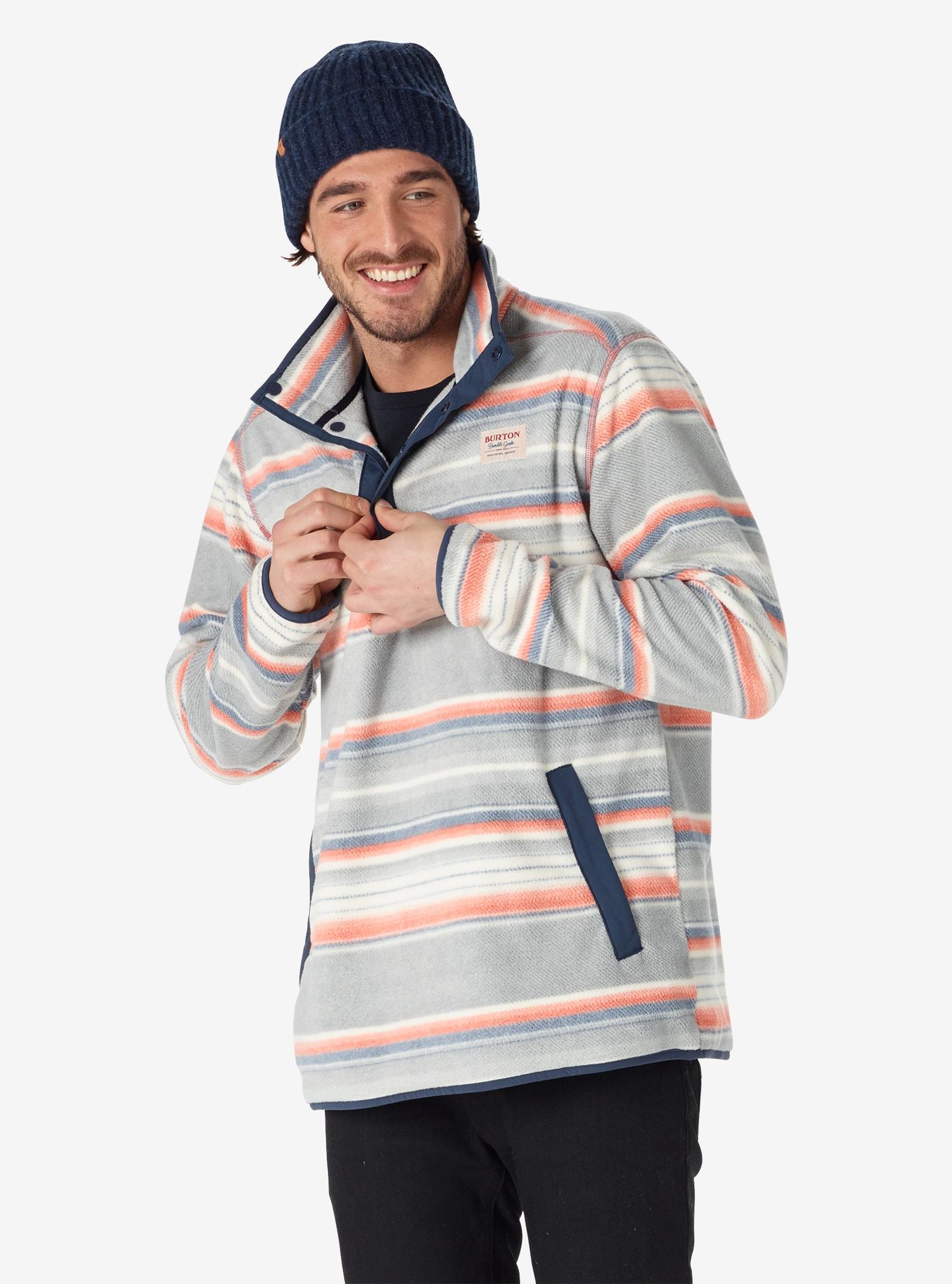 Men's Burton Hearth Fleece Anorak shown in Buster Stripe