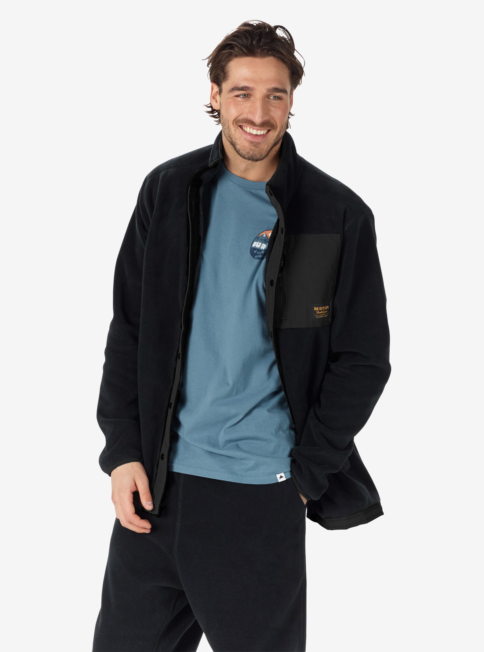 Men's Burton Hearth Snap-Up Fleece shown in True Black