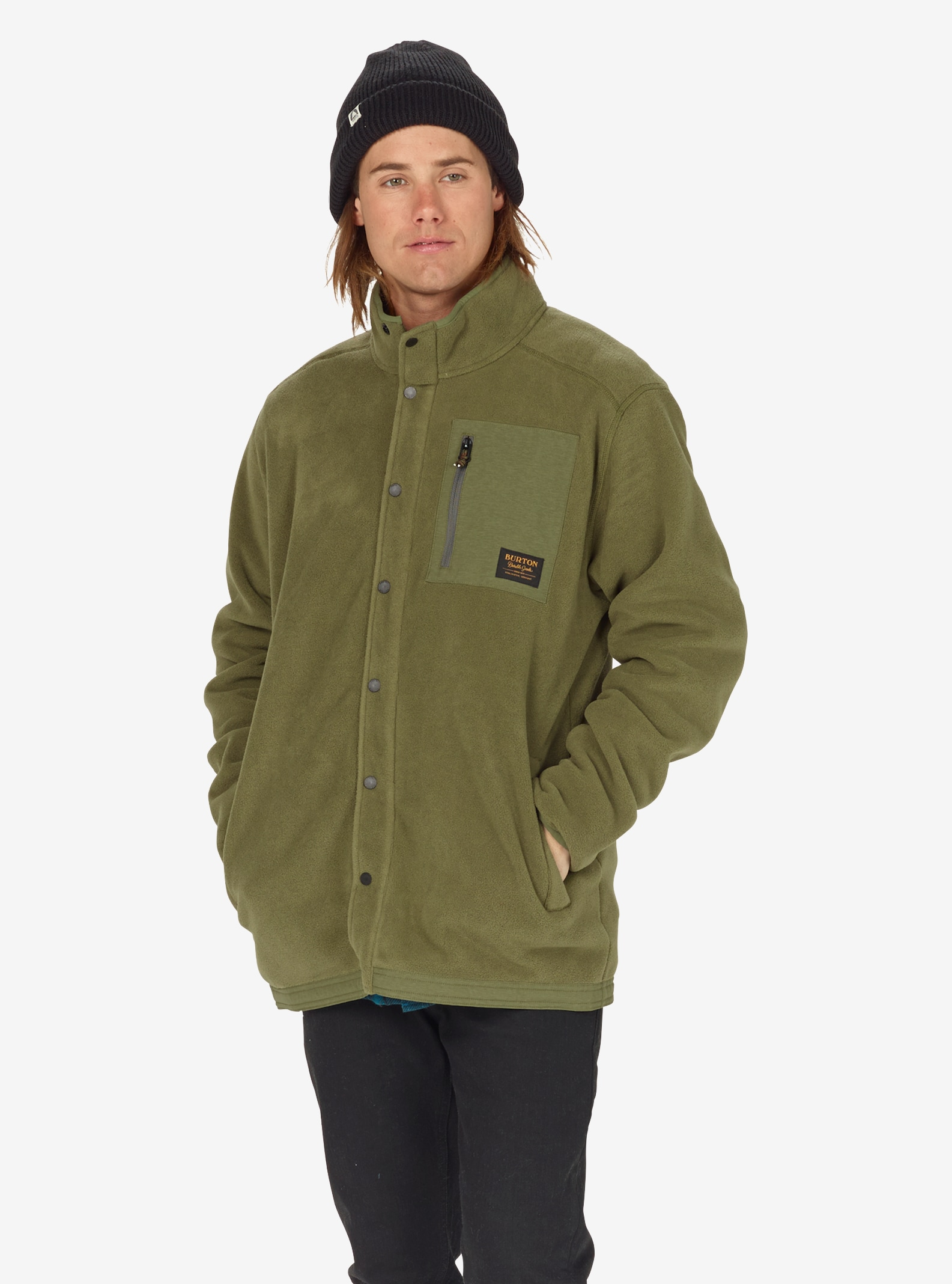 Men's Burton Hearth Snap-Up Fleece shown in Olive Night