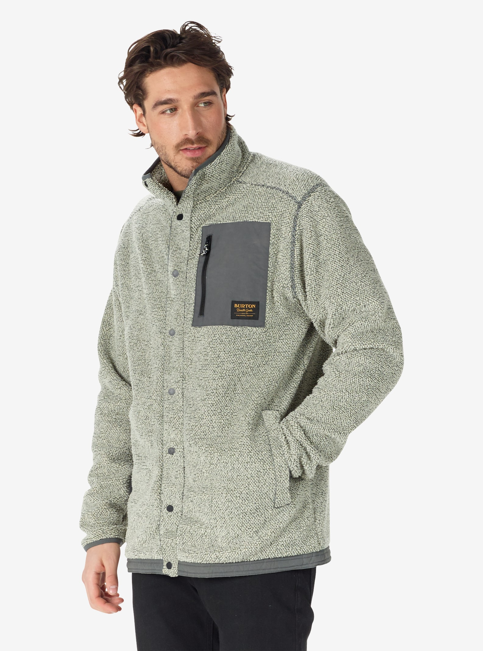 Men's Burton Hearth Snap-Up Fleece shown in Faded Heather