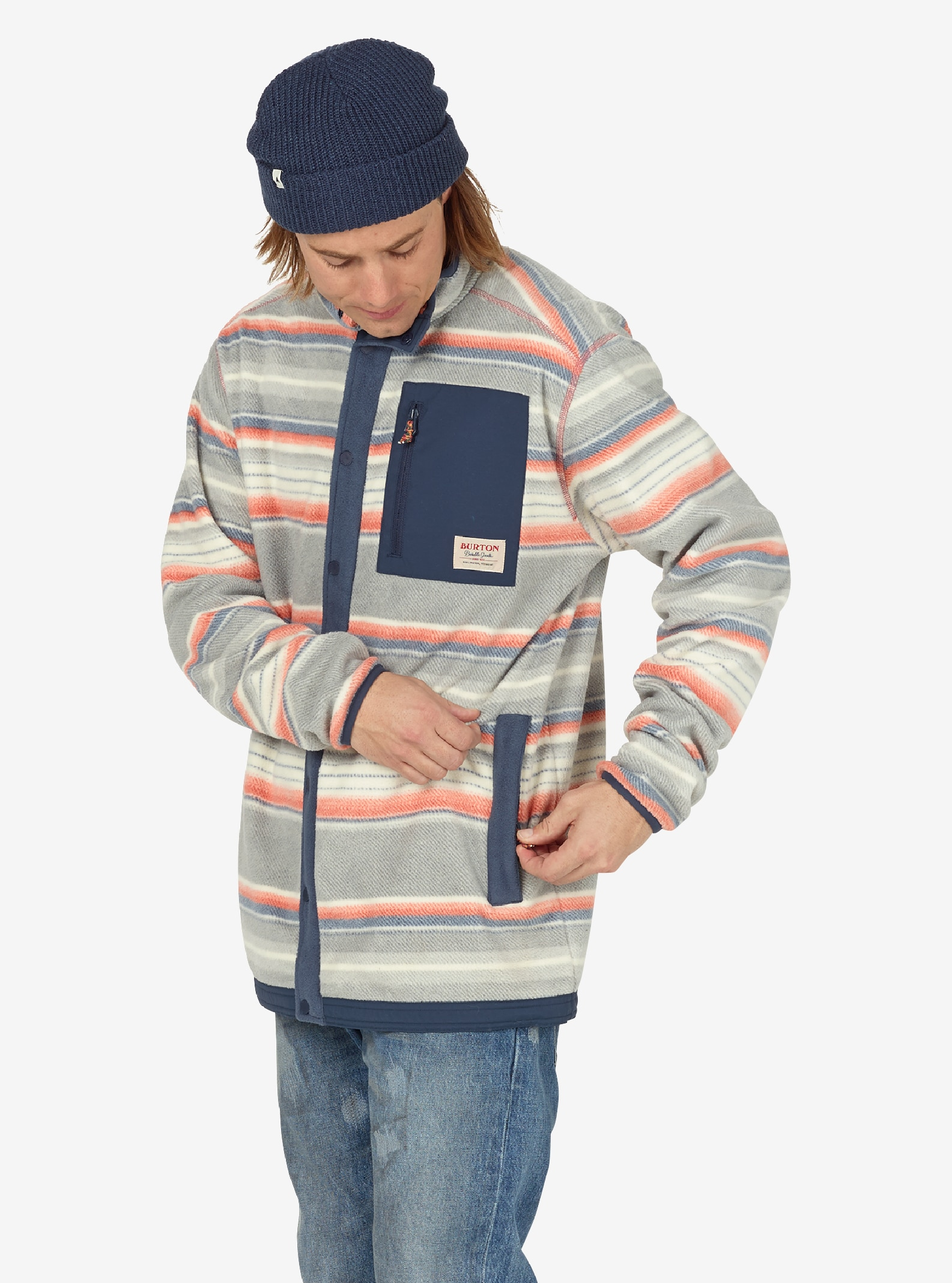 Men's Burton Hearth Snap-Up Fleece shown in Buster Stripe