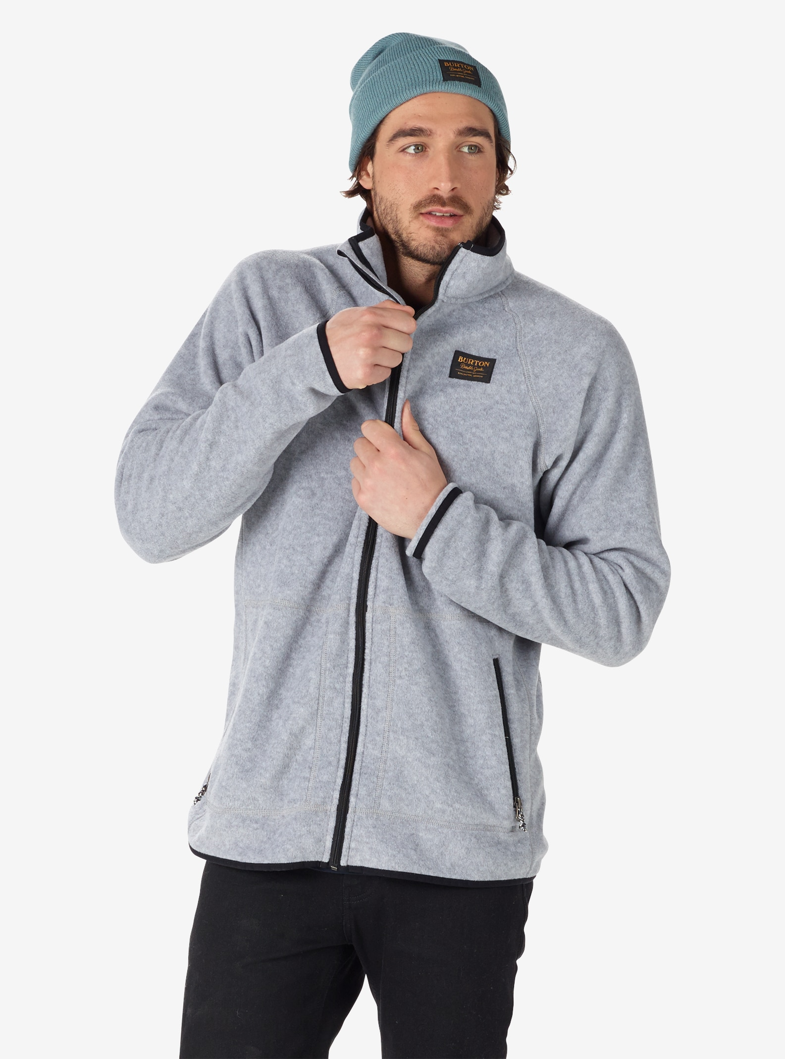 Men's Burton Ember Full-Zip Fleece shown in Shade Heather