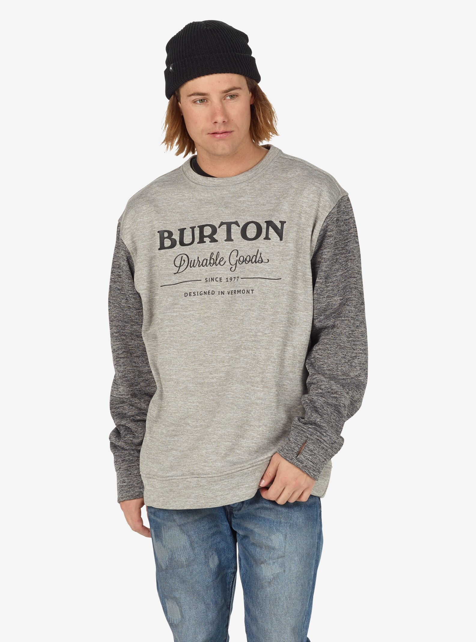 Burton - Pull ras du cou Oak homme affichage en Monument Heather / True Black Heather