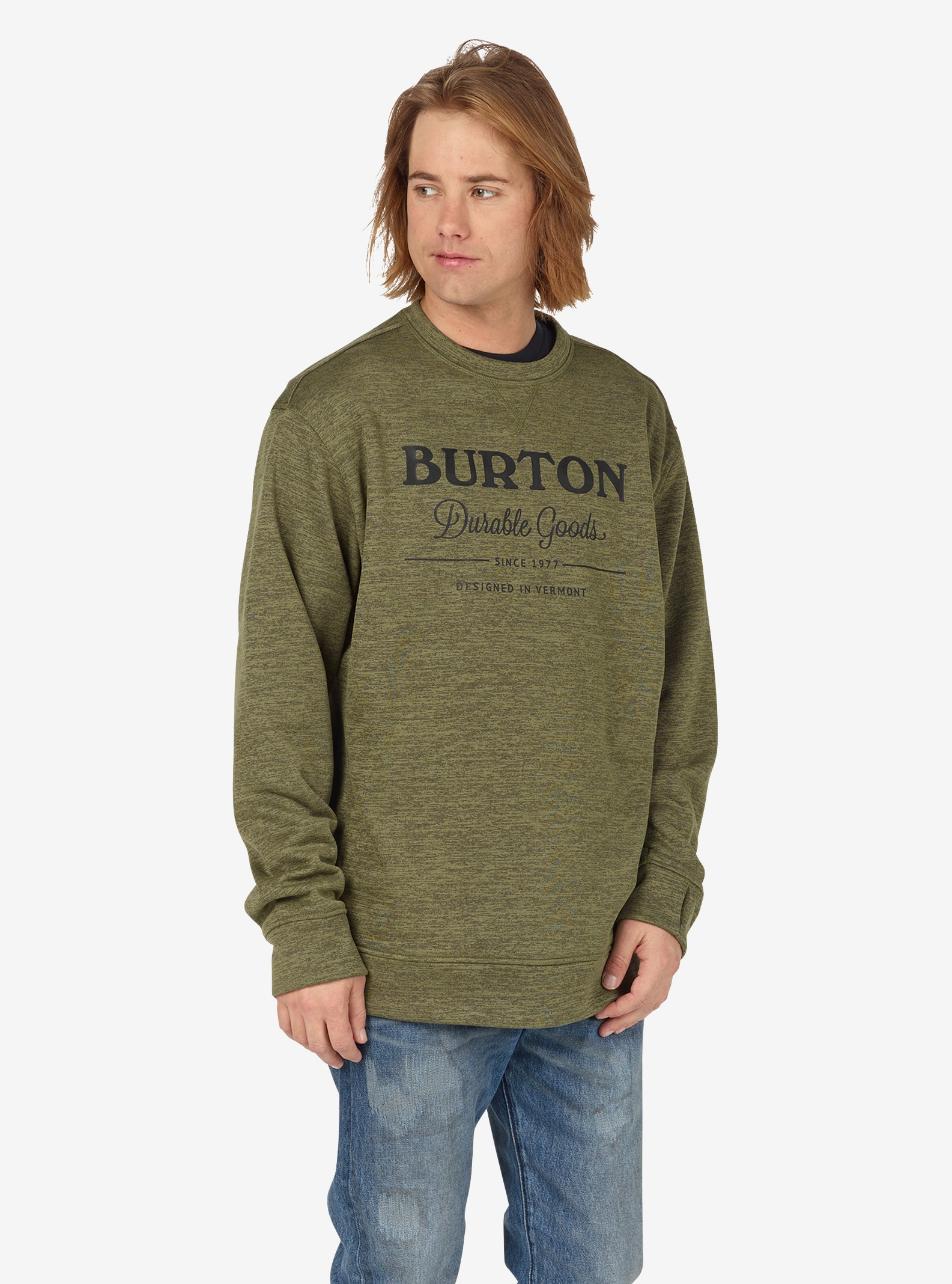 Burton - Pull ras du cou Oak homme affichage en Dusty Olive Heather