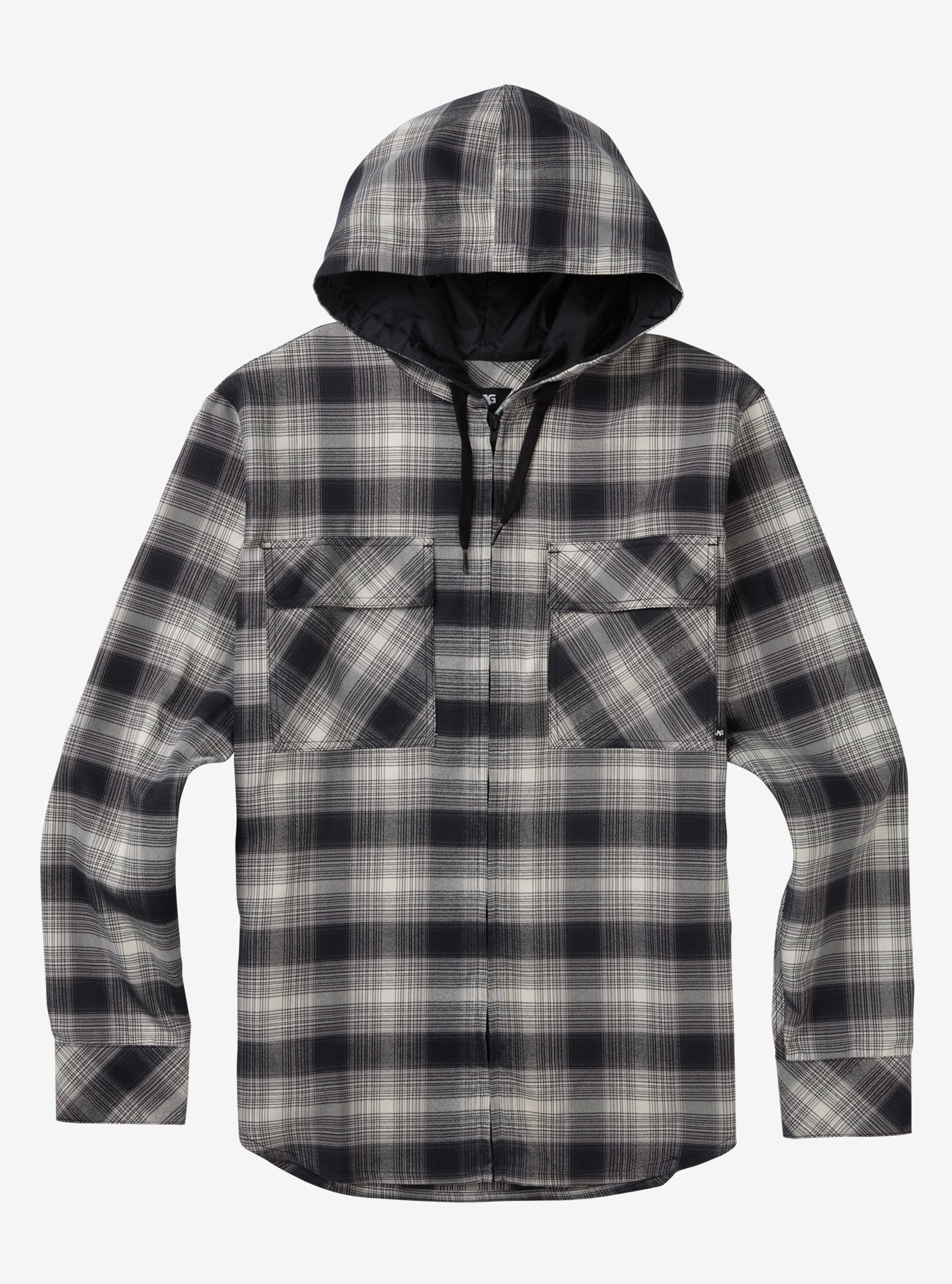 Men's Analog ATF Kaiden Hooded Flannel shown in True Black Pacific Plaid