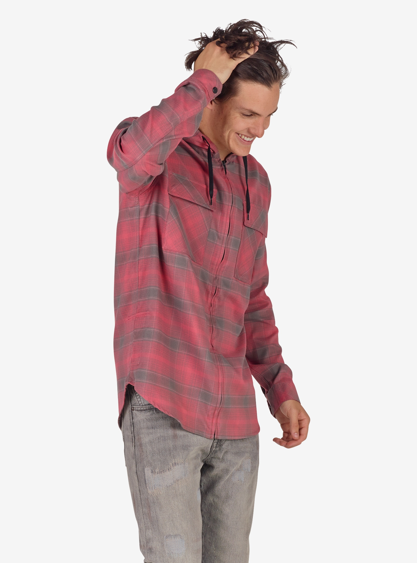 Men's Analog ATF Kaiden Hooded Flannel shown in Heathers Pacific Plaid