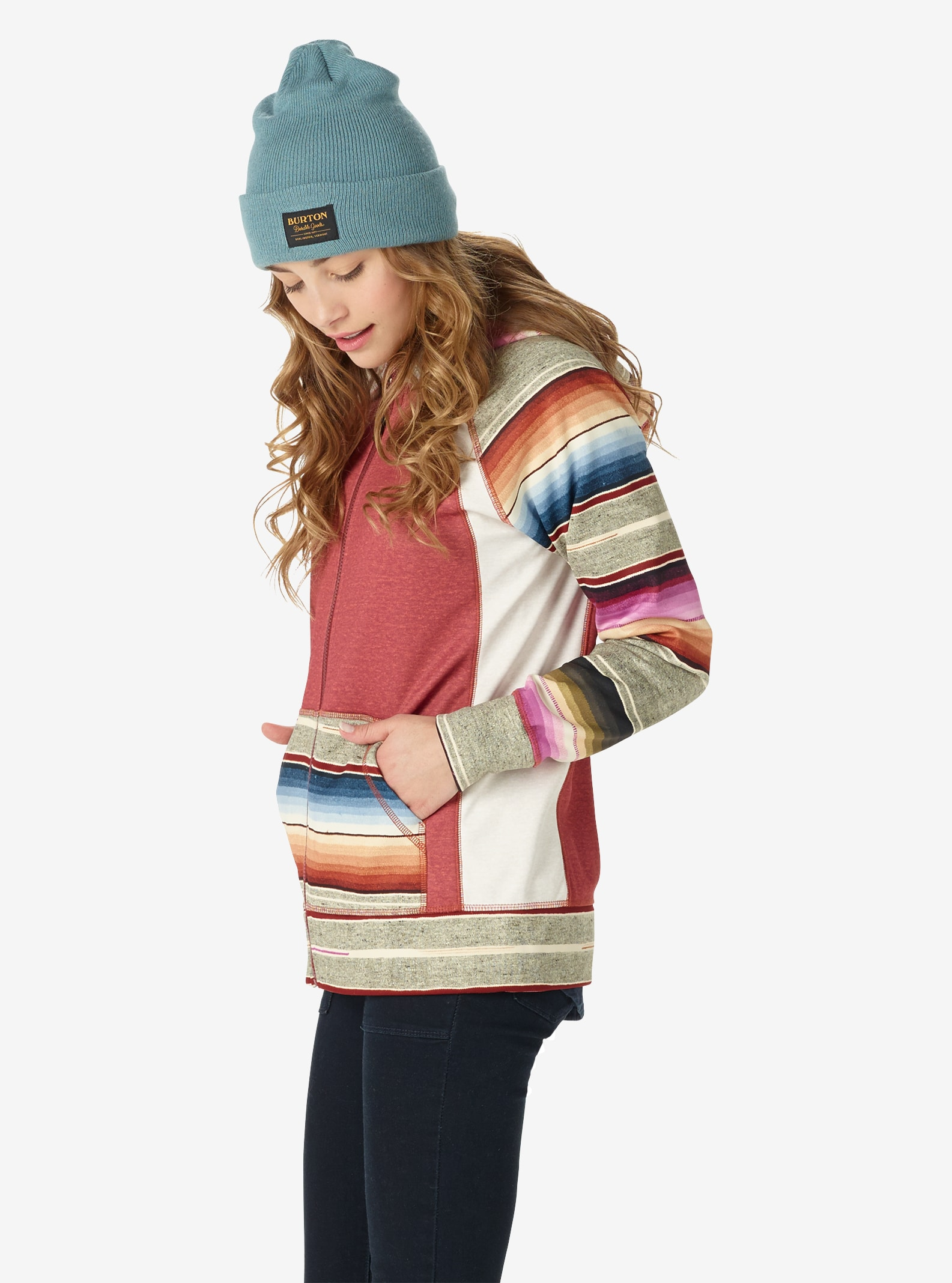 Women's Burton Scoop Hoodie shown in Sparrow Heather / Mija Stripe