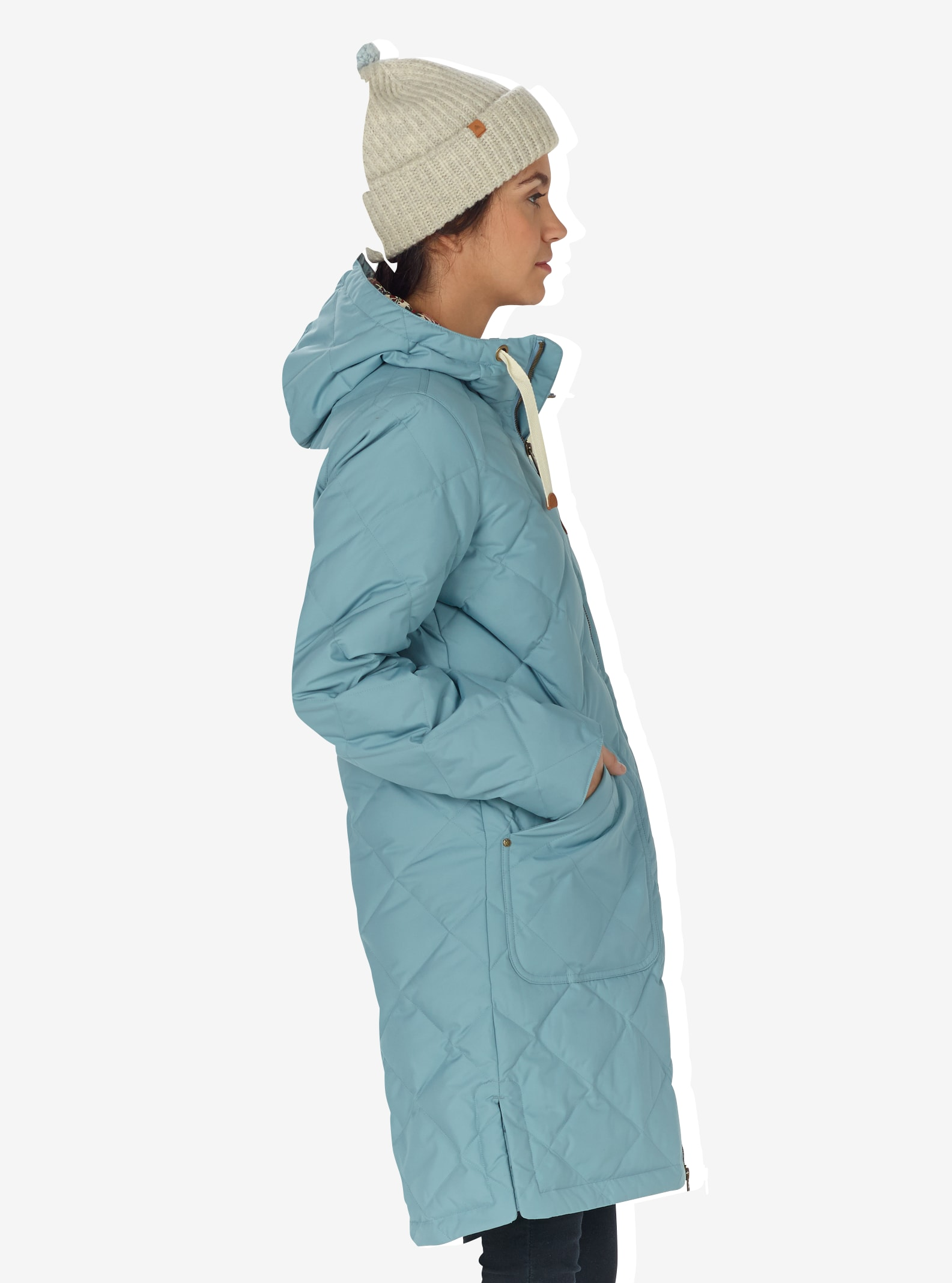 Women's Burton Bixby Long Down Jacket shown in Winter Sky