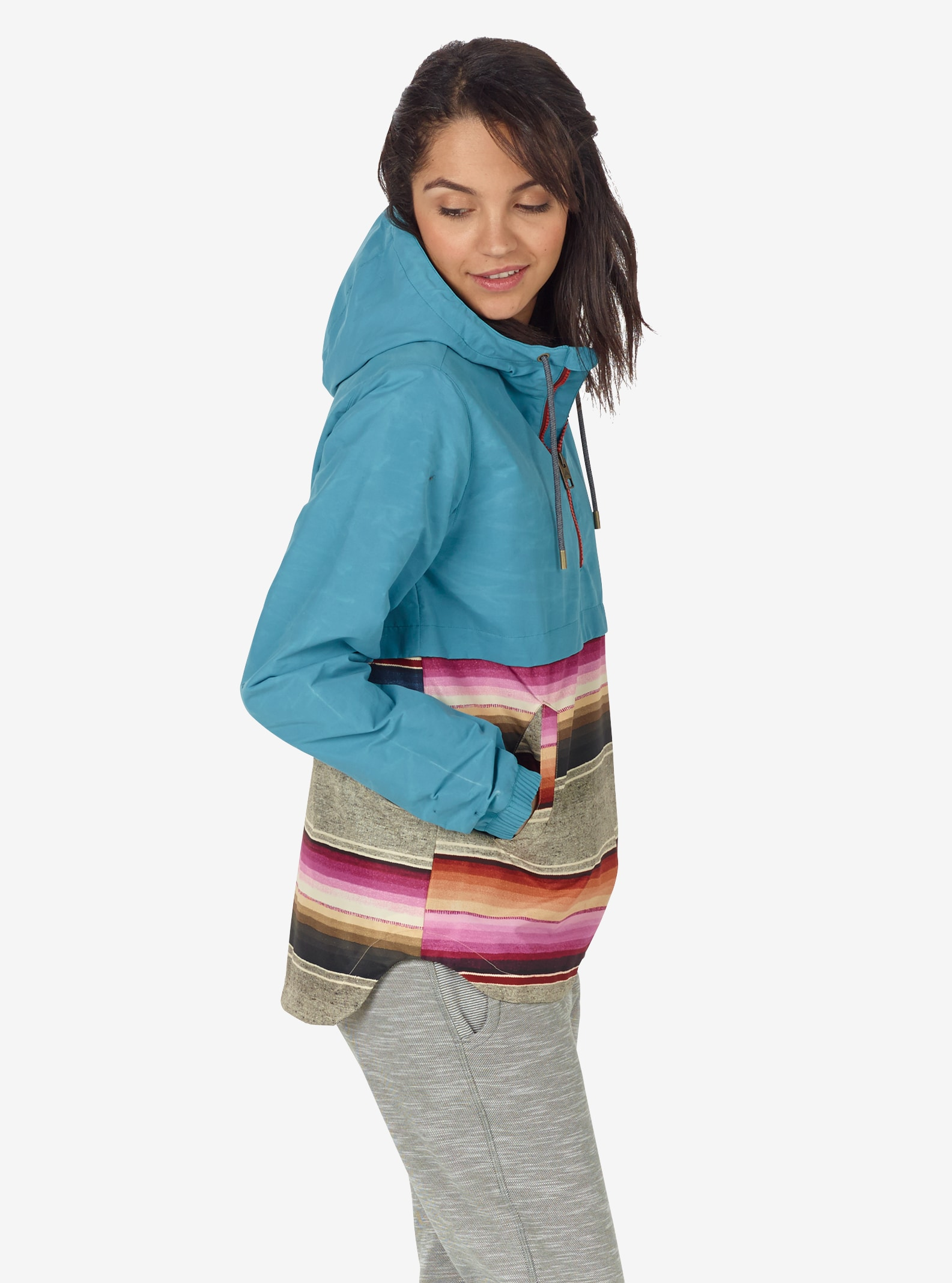 Women's Burton Journey Anorak Jacket shown in Larkspur / Mojave Stripe
