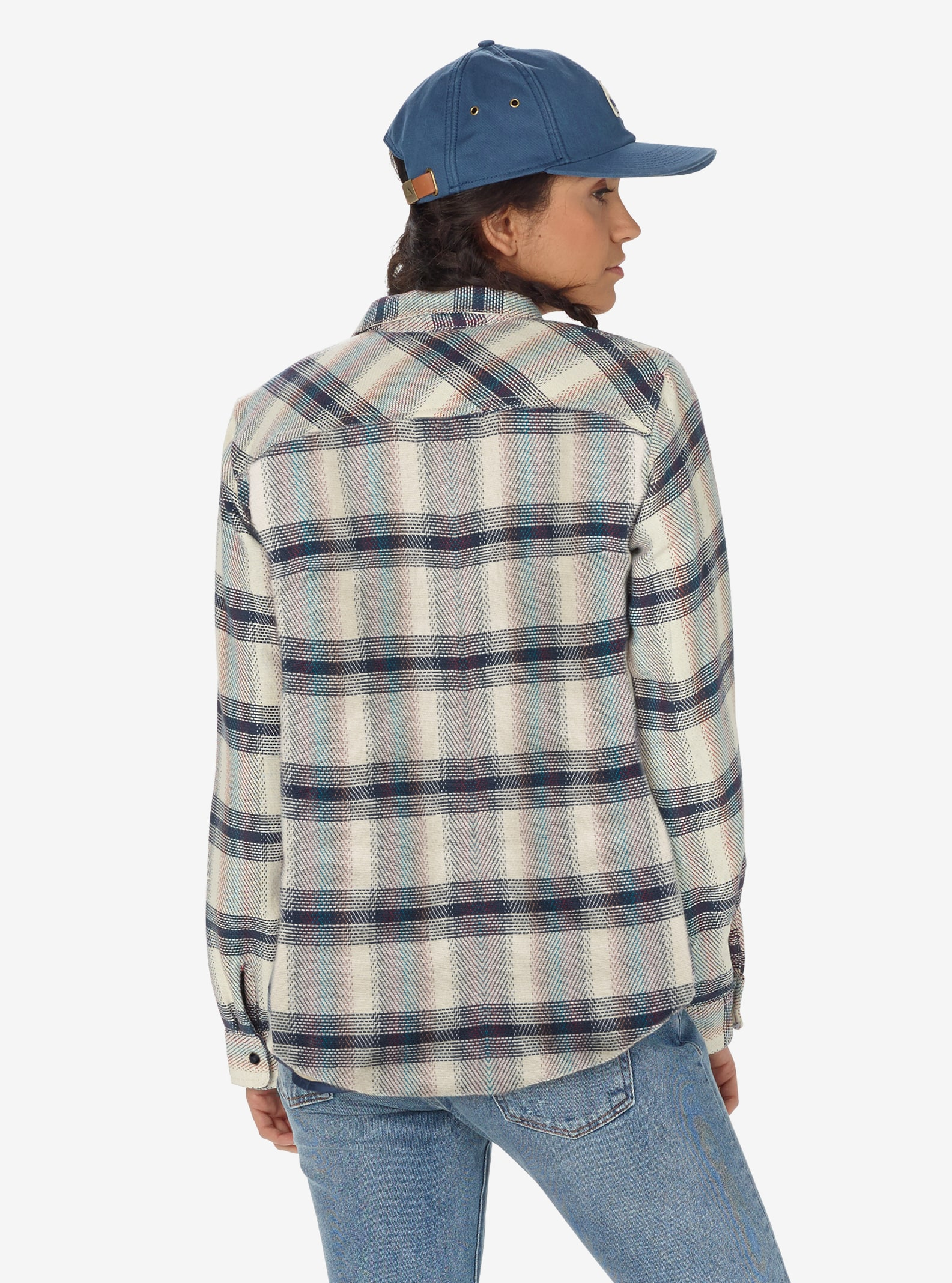 Women's Burton Grace Sherpa Flannel shown in Canvas Gradient Plaid