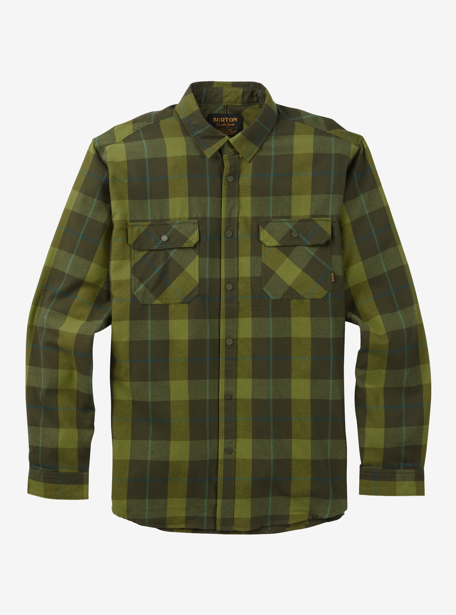 Men's Burton Brighton Tech Flannel shown in Forest Night Boxelder Plaid