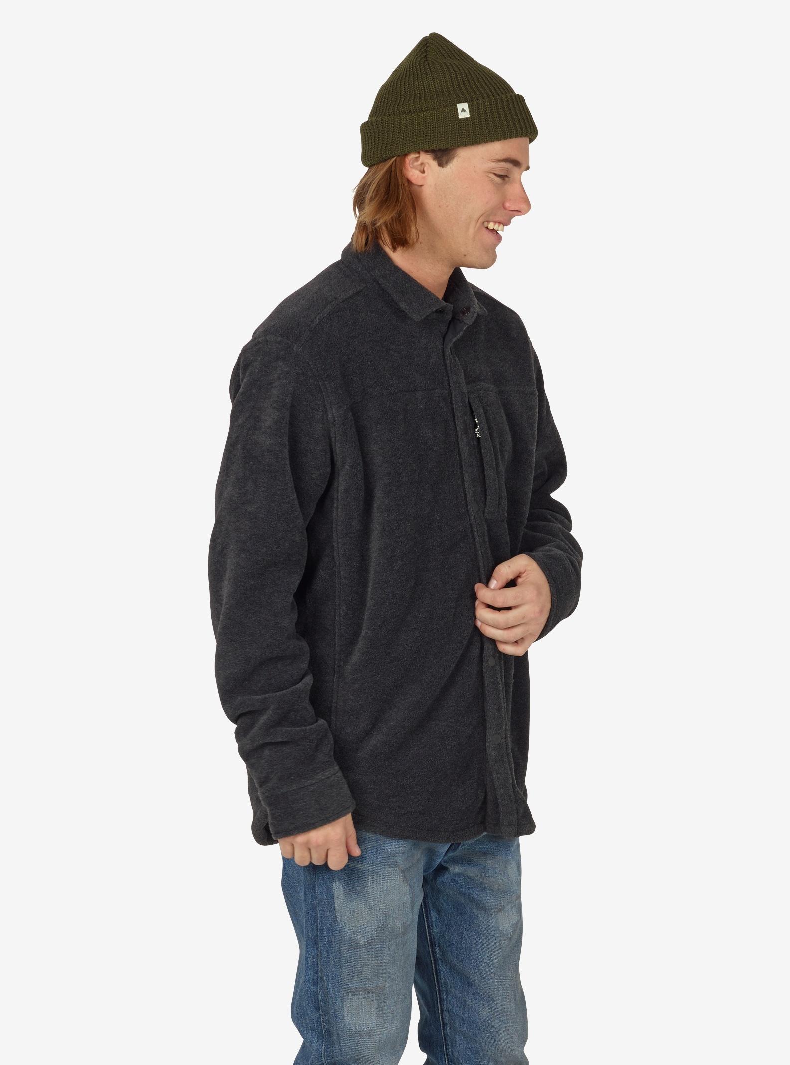 Men's Burton Spillway Fleece Shirt shown in Faded Heather