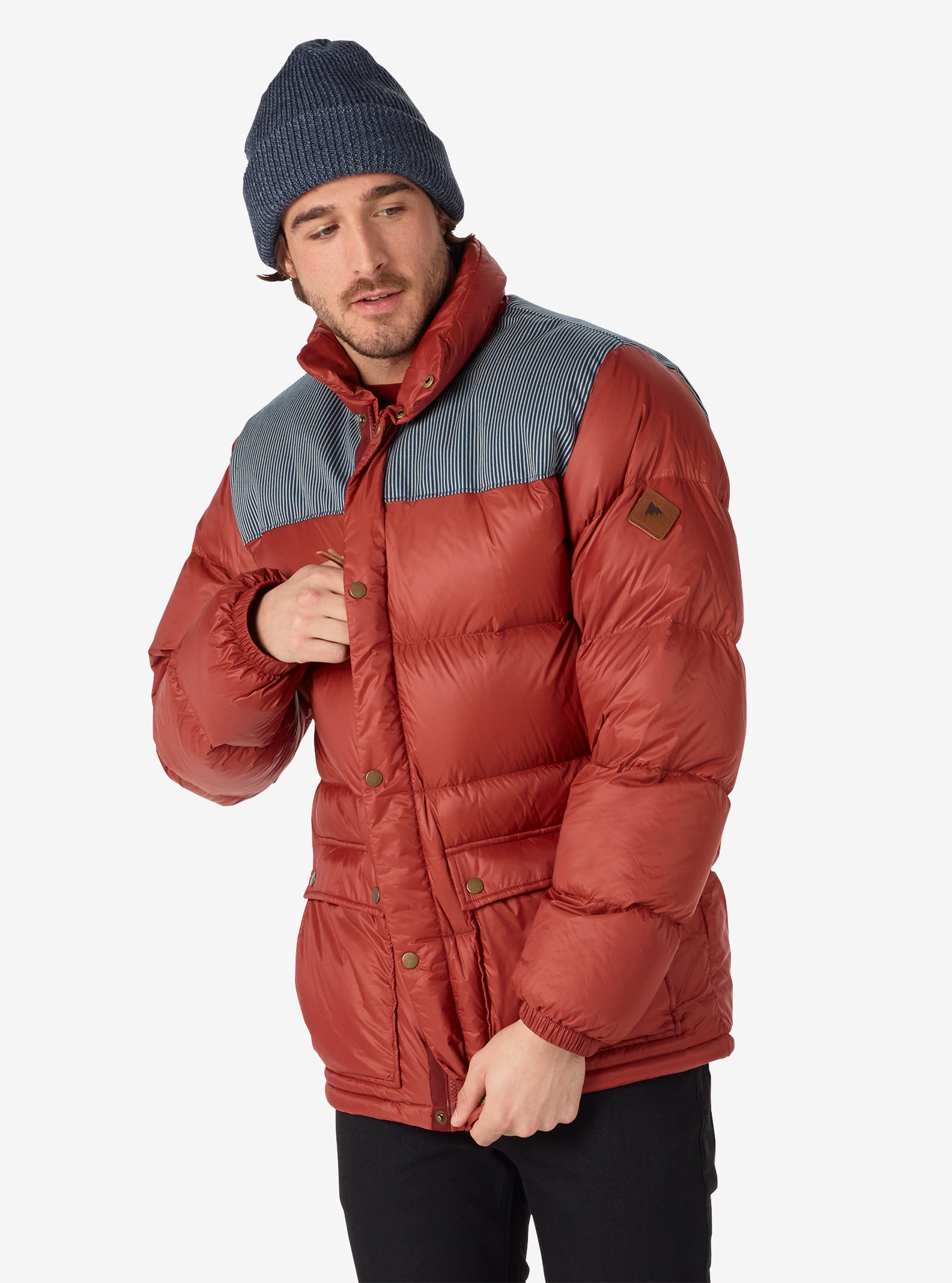 Men's Burton Heritage Collared Down Jacket shown in Railroad / Fired Brick