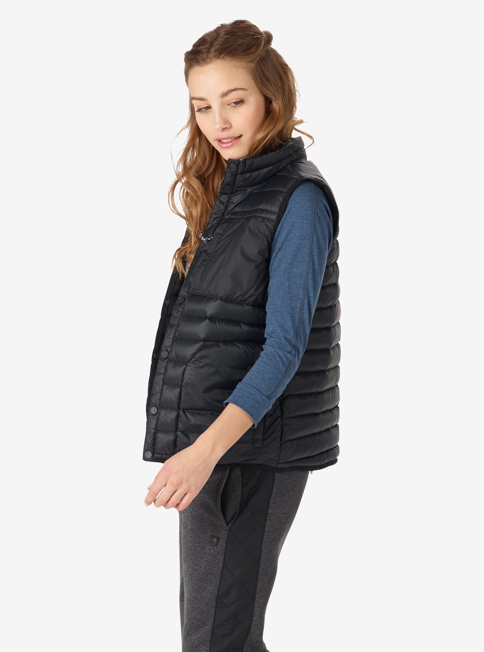 Women's Burton Evergreen Down Vest Insulator shown in True Black