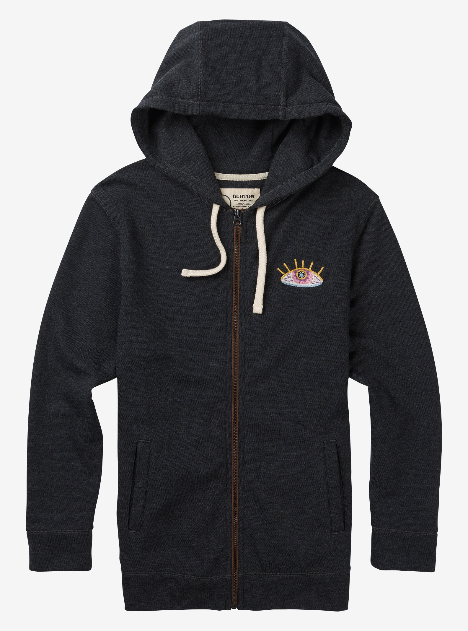 Women's Burton Neverwhere Full-Zip Hoodie shown in True Black