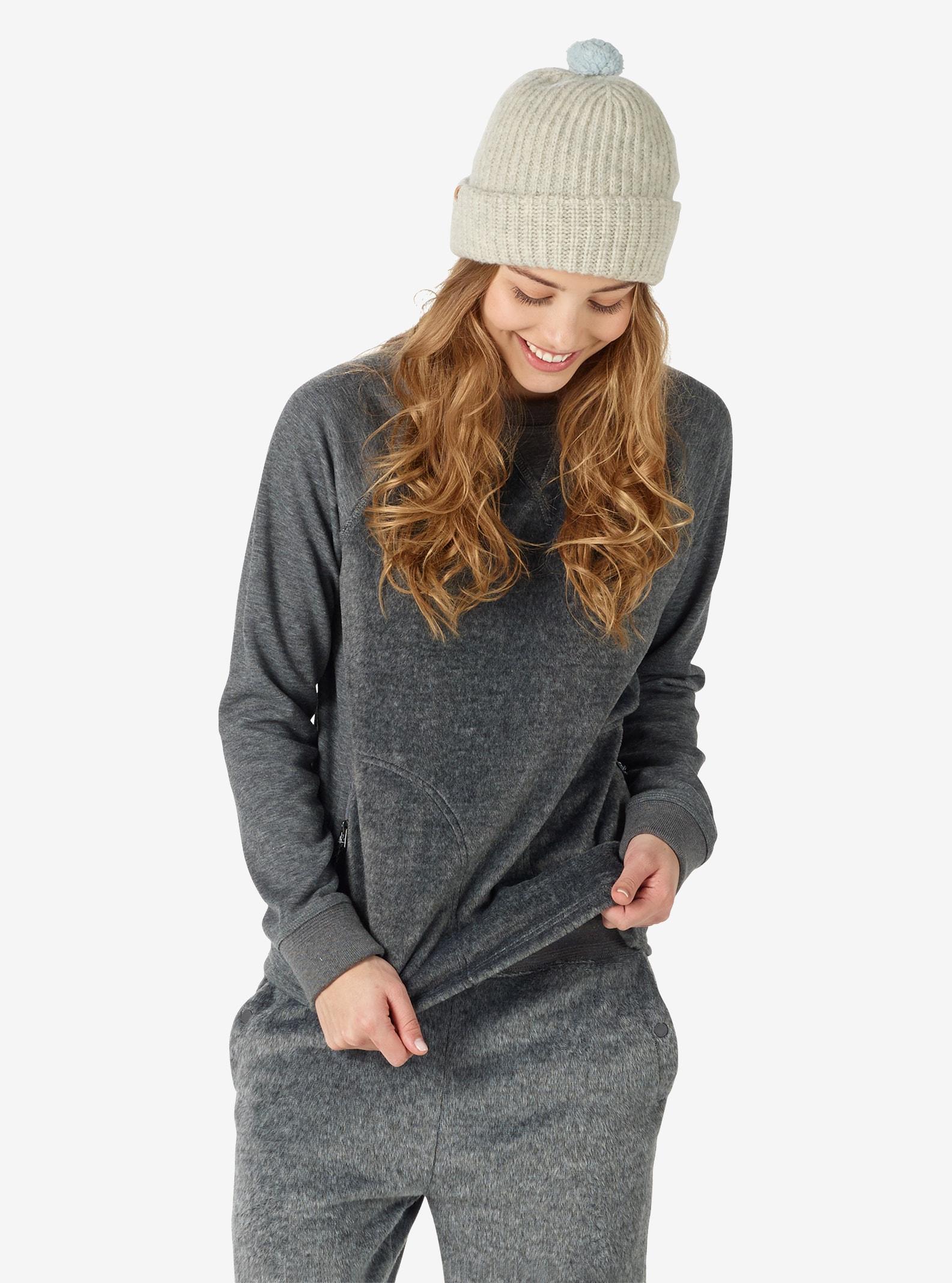 Women's Burton Rolston Fleece Crew shown in Gray Heather