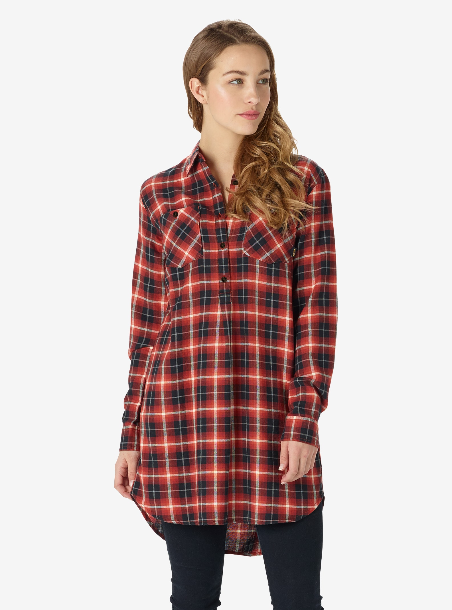 Women's Burton Grace Flannel Tunic shown in Bitters Haze Plaid
