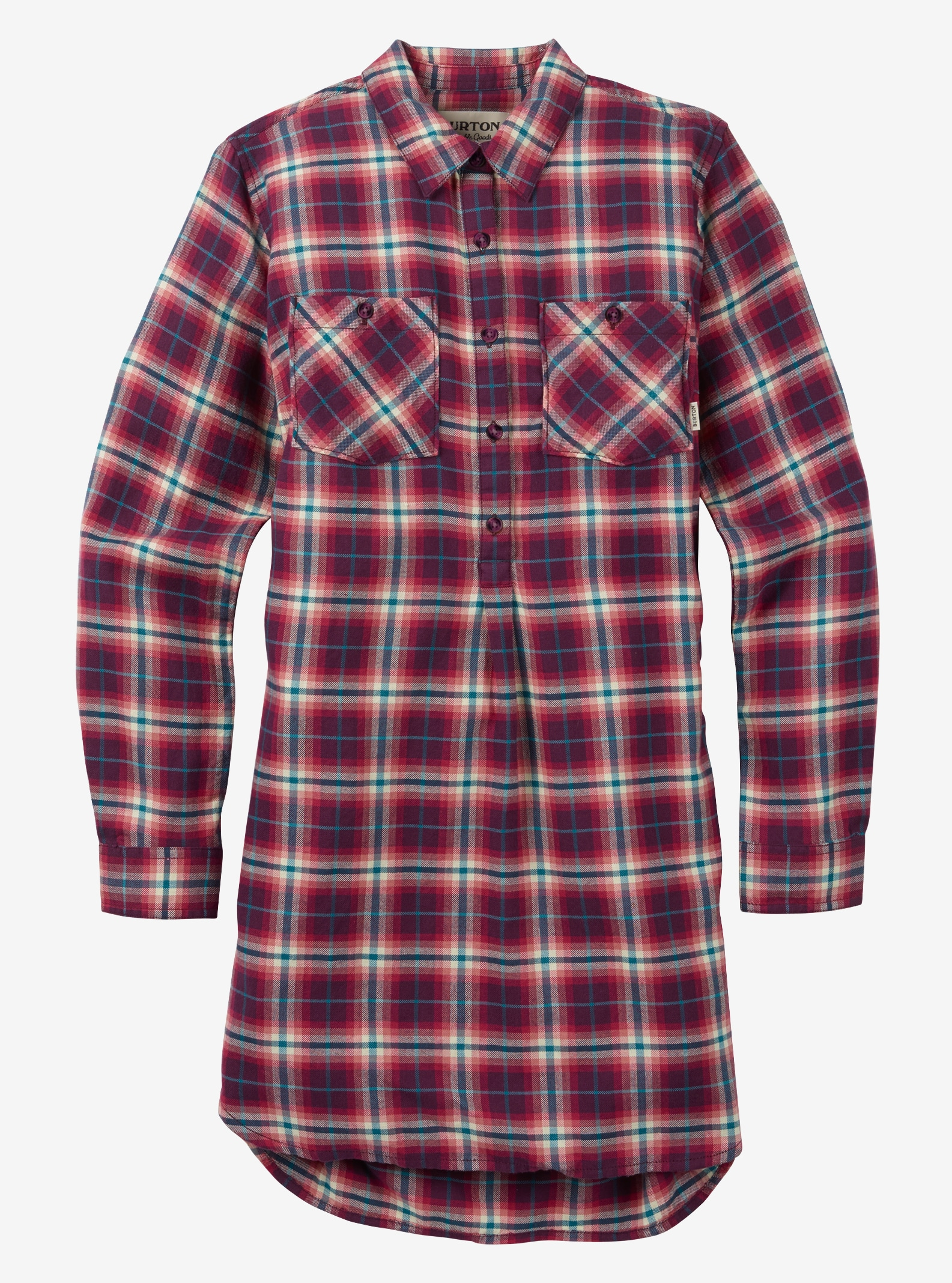 Women's Burton Grace Flannel Tunic shown in Anemone Haze Plaid