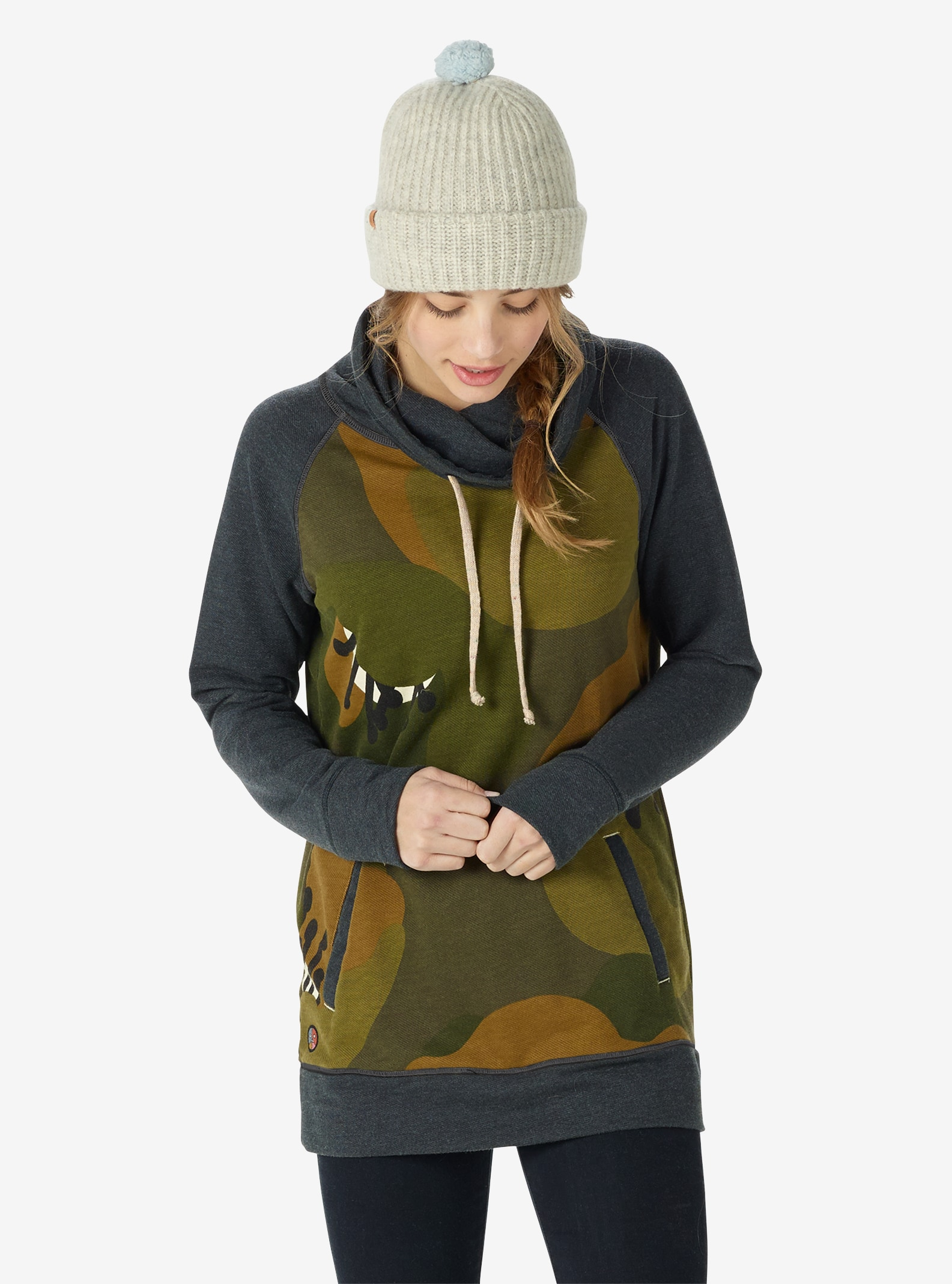 Women's Burton Lima Funnel Neck Pullover shown in Forest Poppyfield