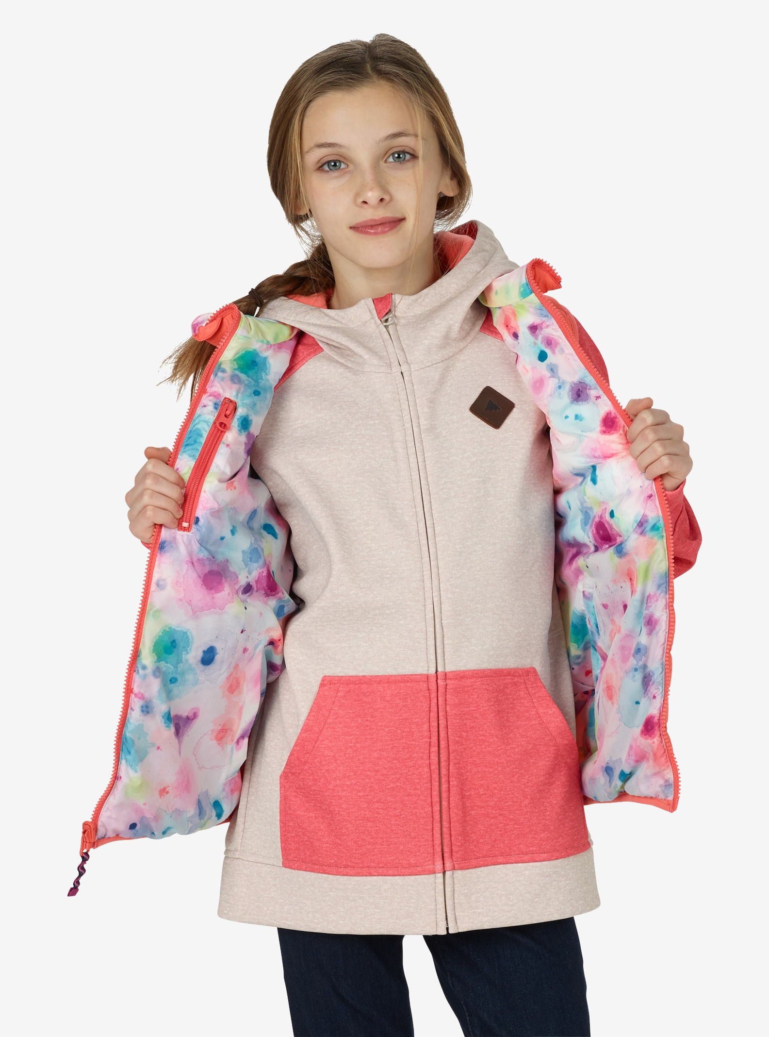 Kids' Burton Flex Puffy Vest shown in Georgia Peach / Drip Dye
