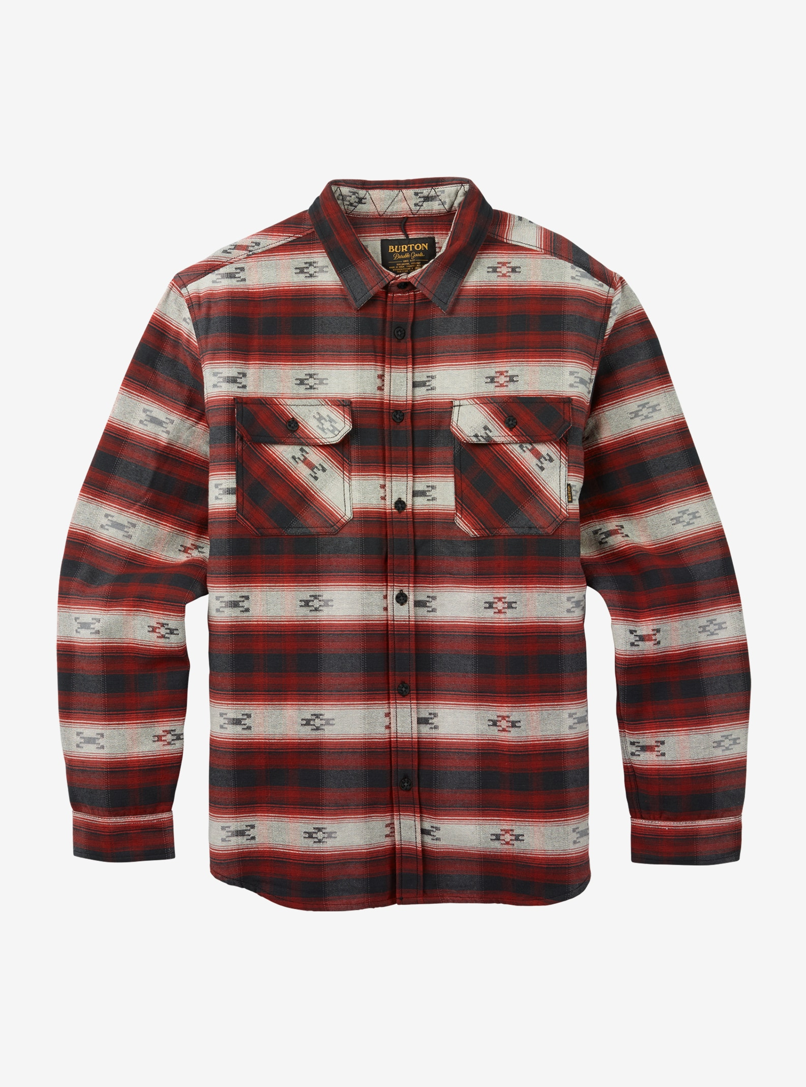 Men's Burton Brighton Burly Sherpa Flannel shown in Fired Brick Azrek