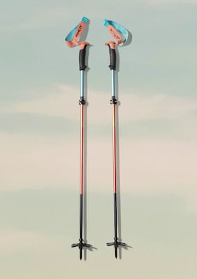 Mine77 x Black Diamond Compactor Poles shown in Cantaloupe Ombre