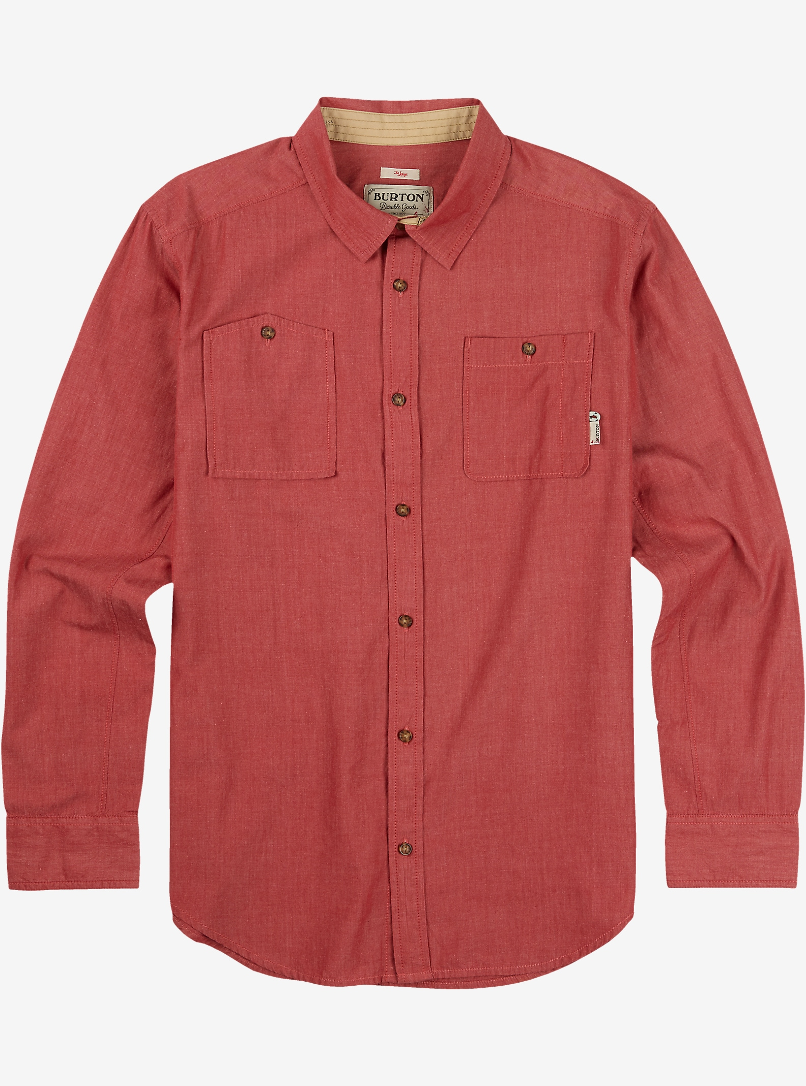 Burton Glade Long Sleeve Shirt shown in Brick Red Chambray