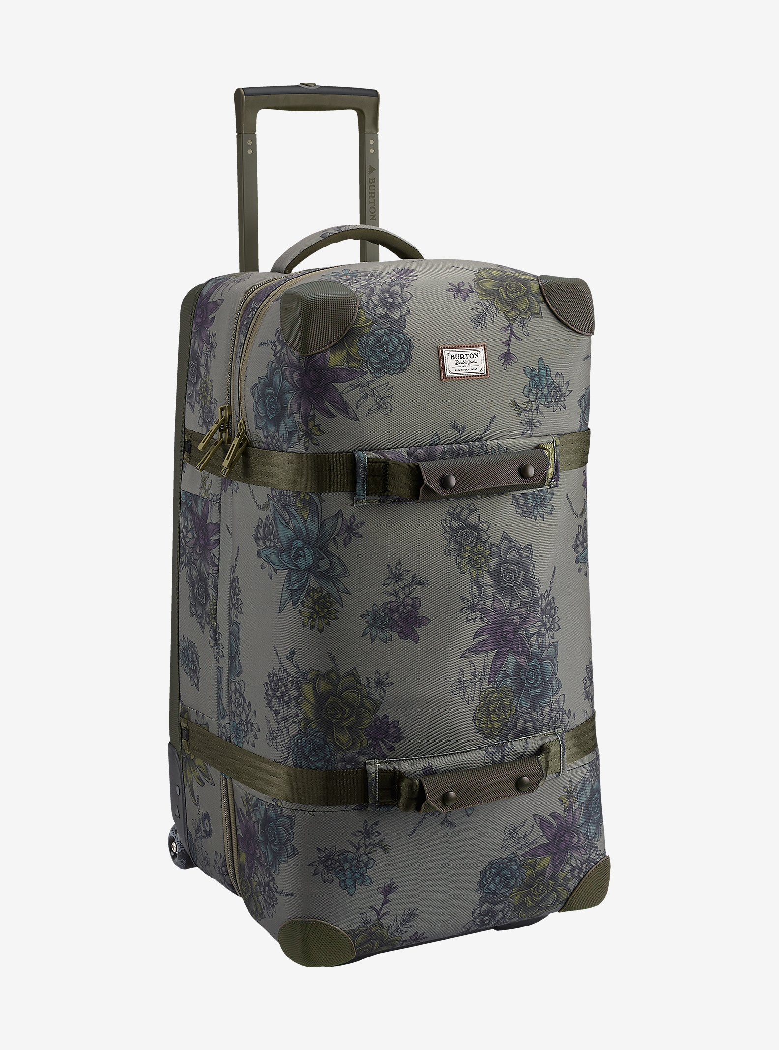 Burton Wheelie Double Deck Travel Bag shown in Succulent Camo [bluesign® Approved Fabric]