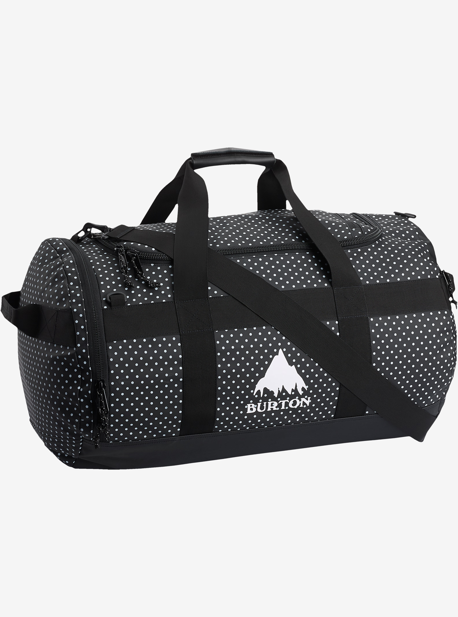 Burton Backhill Duffel Bag Medium 70L shown in Black Polka Dot Tarp