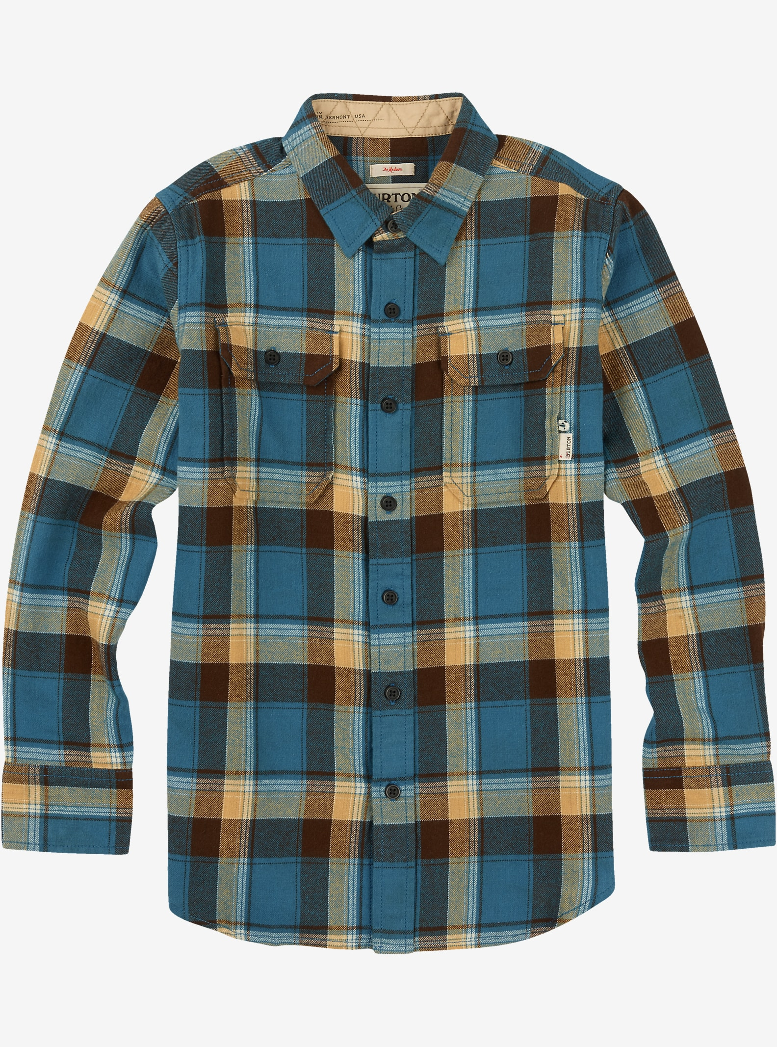 Burton Boys' Brighton Long Sleeve shown in Impulse Plaid Glacier Blue