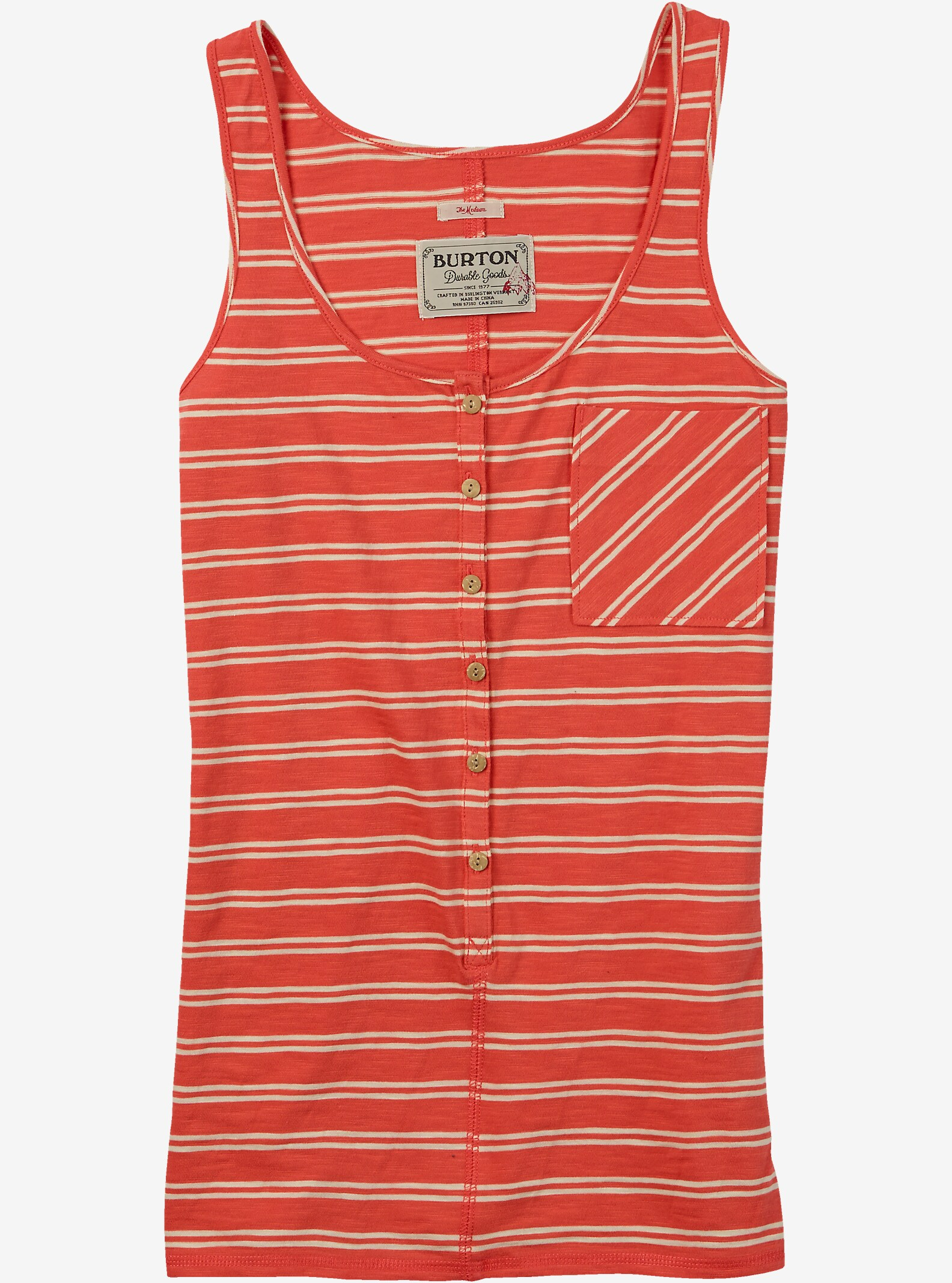 Burton Salvador Tanktop angezeigt in Hot Coral Norwich Stripe