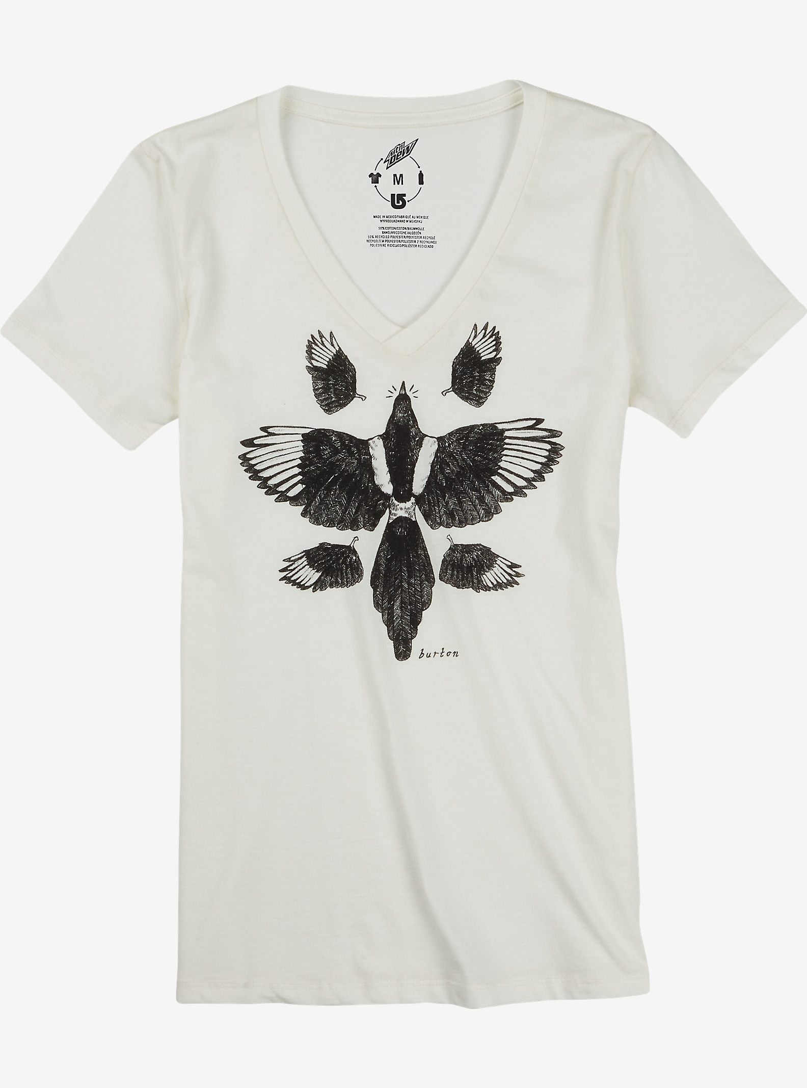 Burton Starling V-Neck Recycled T Shirt shown in Vanilla Heather