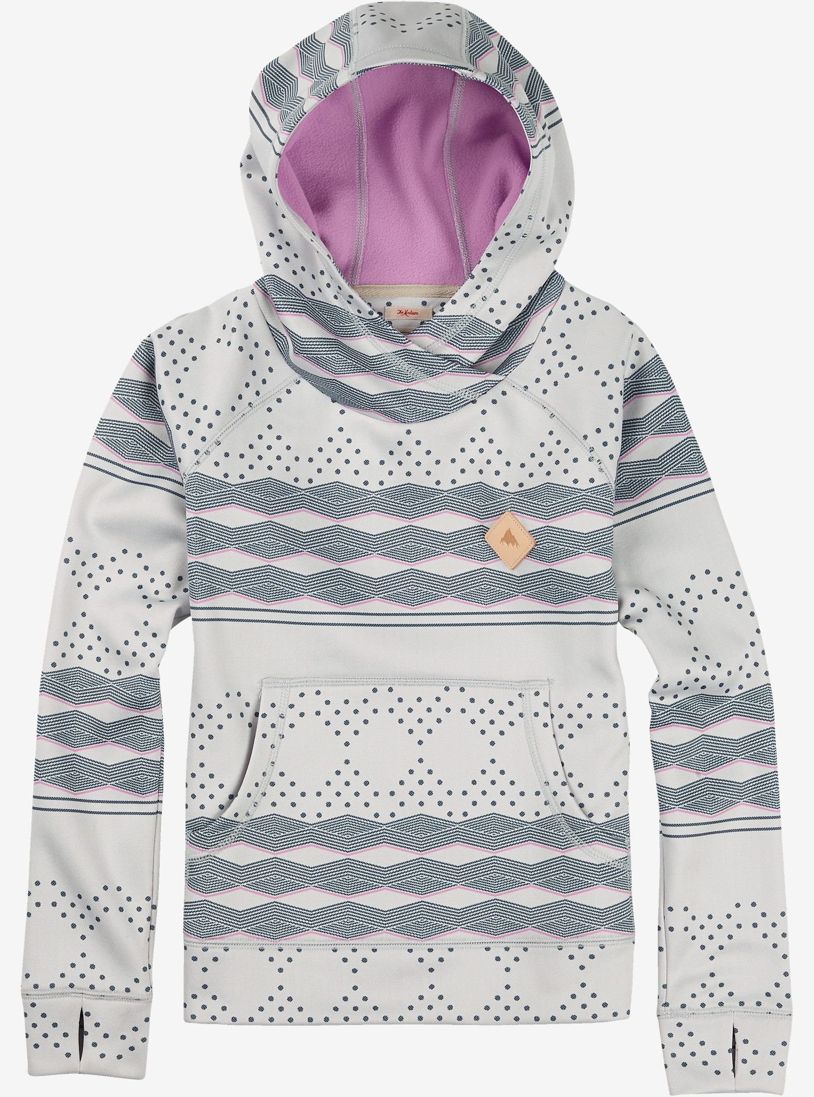 Burton Girls' Heron Pullover Hoodie shown in Ethnic Herringbone Stripe