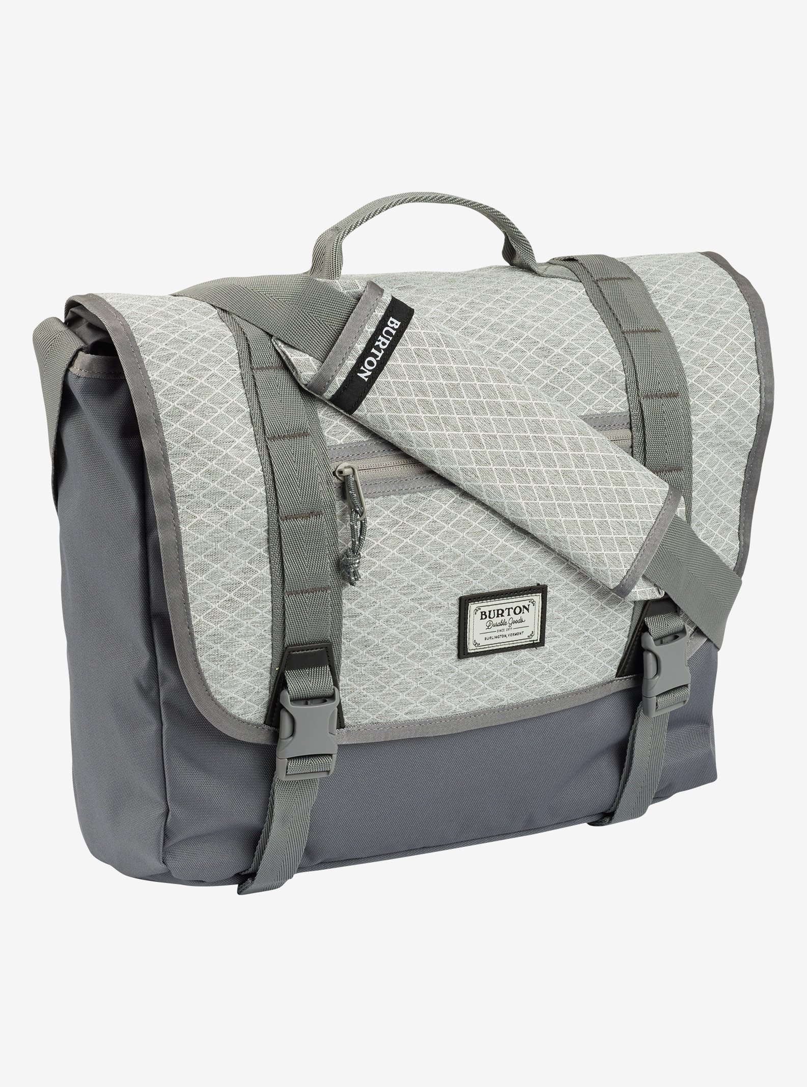 Burton Flint Messenger Bag shown in Grey Heather Diamond Ripstop