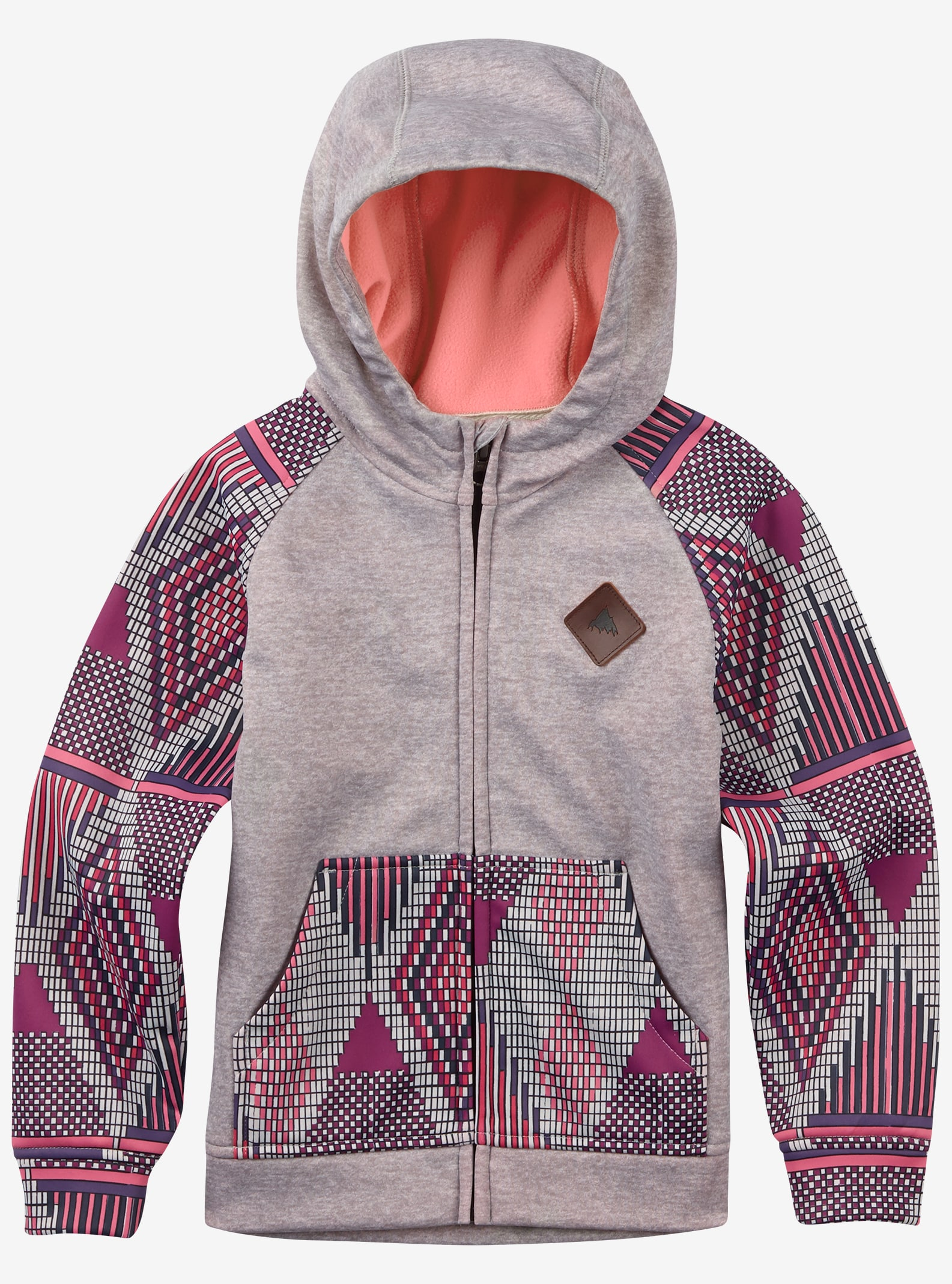Burton Girls' Mini Scoop Full-Zip Hoodie shown in Canvas Heather