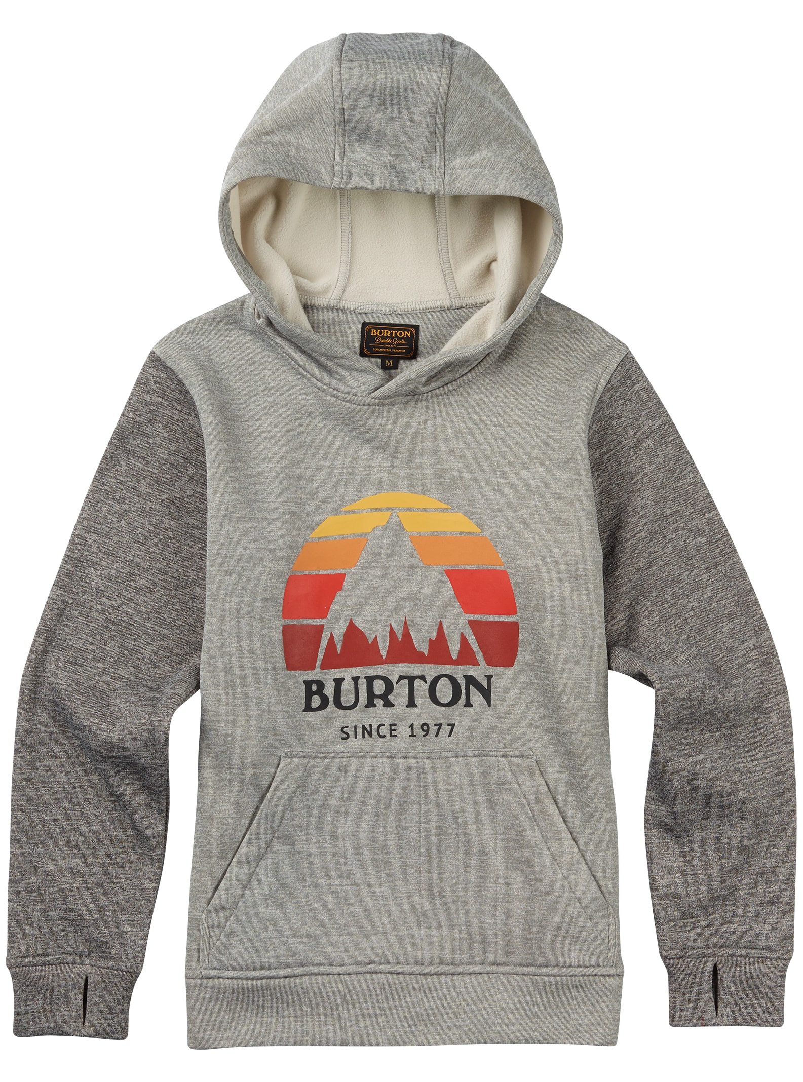 Burton Boys' Oak Pullover Hoodie shown in Monument Heather / True Black