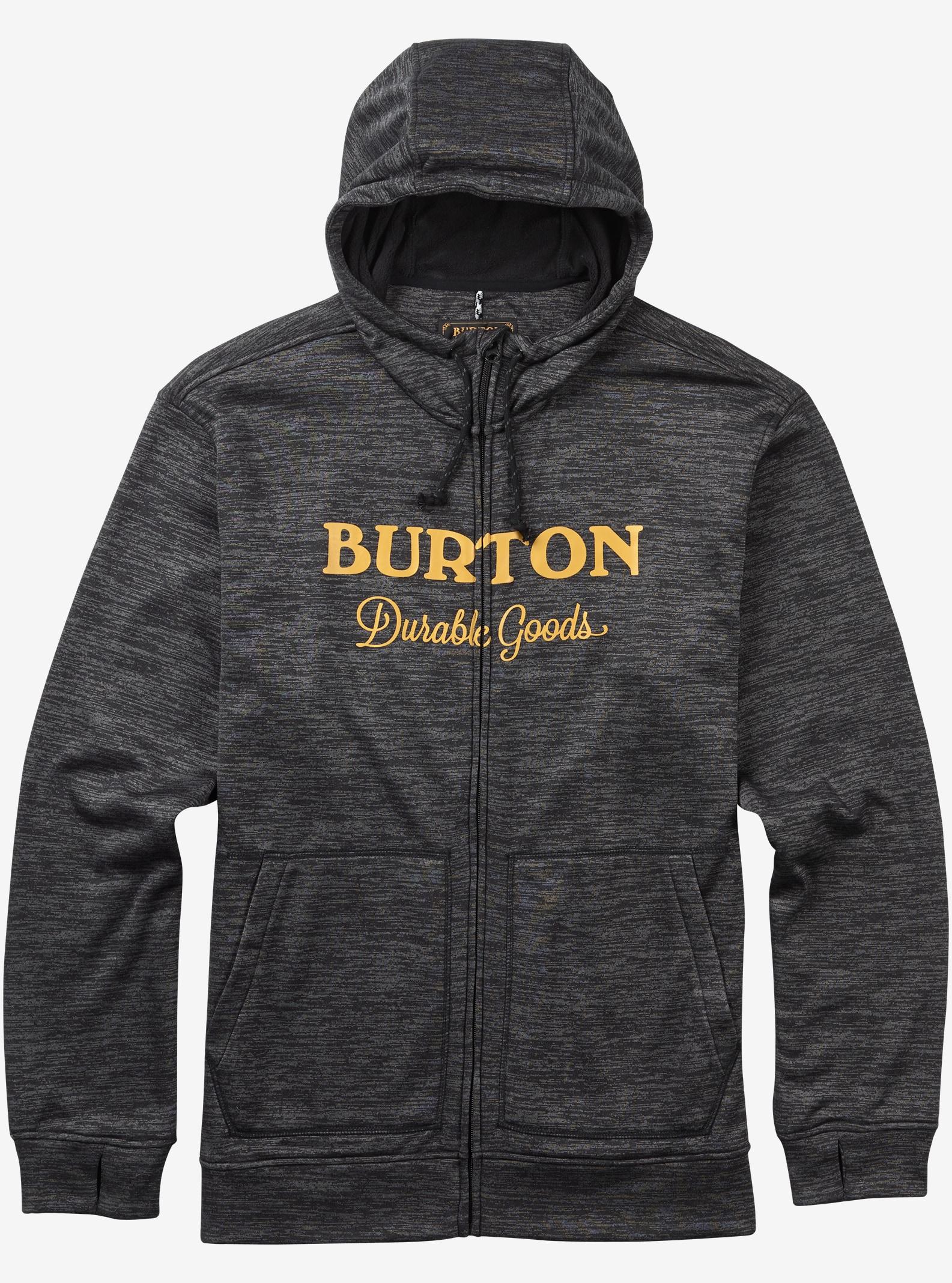 Burton - Chandail à capuchon avec fermeture éclair Oak affichage en True Black Heather