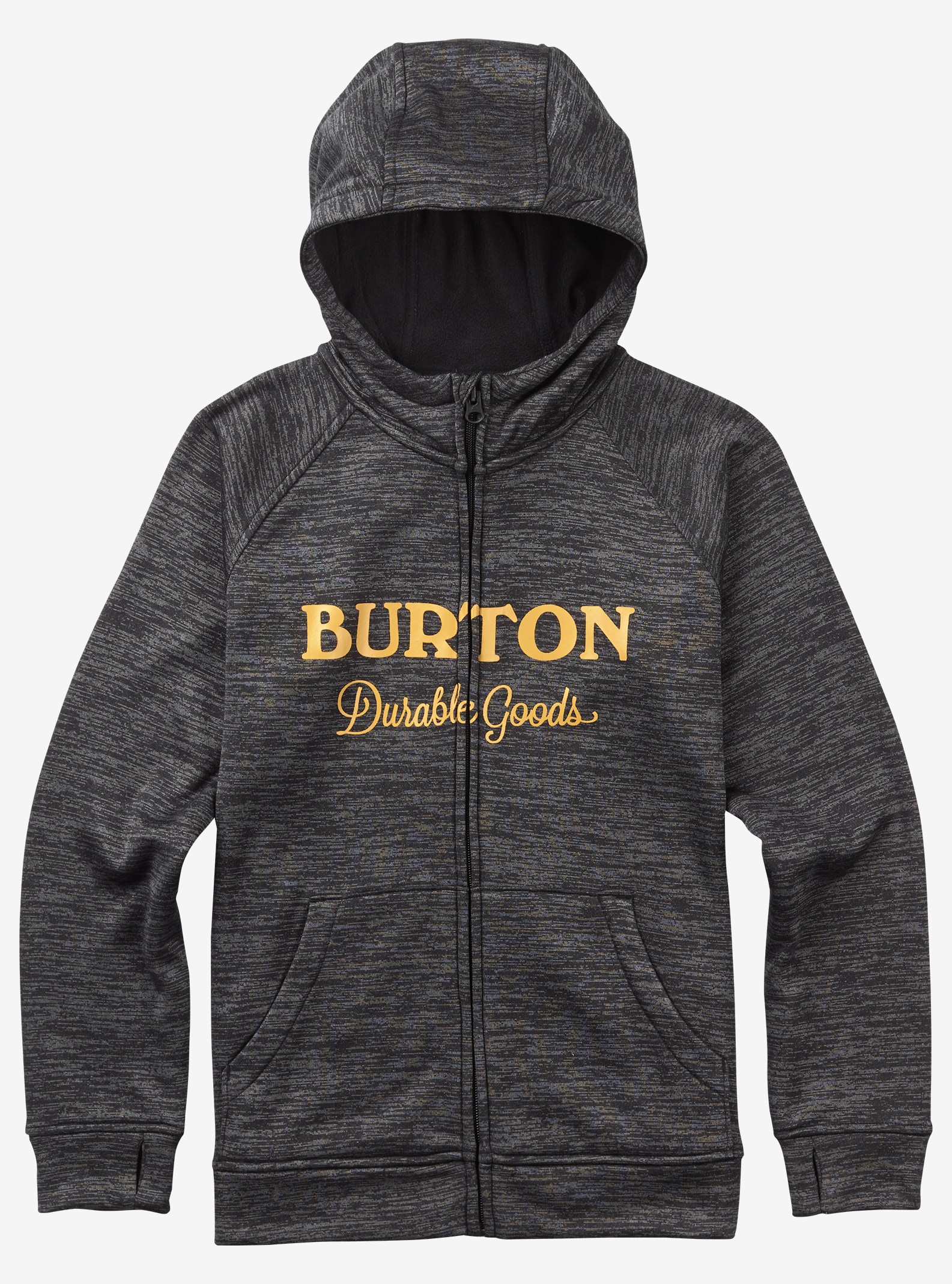 Burton Boys' Oak Full-Zip Hoodie shown in True Black Heather