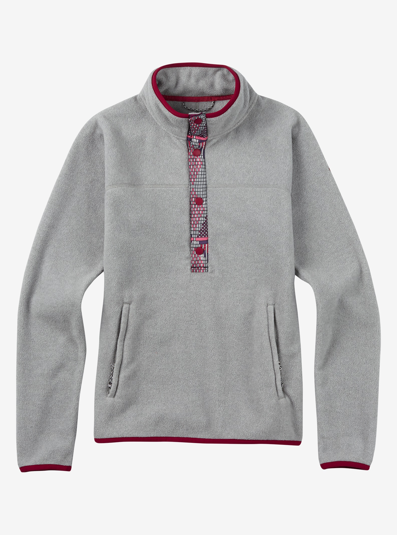 Burton Anouk Fleece Anorak shown in Monument Heather