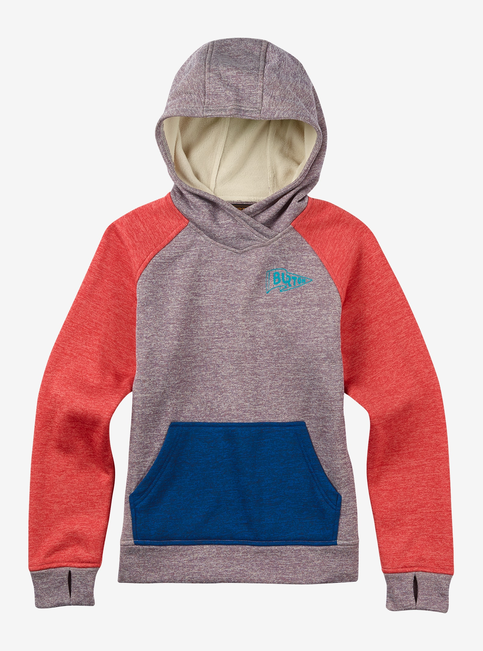 Burton Girls' Phantom Pullover Hoodie shown in Cavas / Mulled Grape Heather