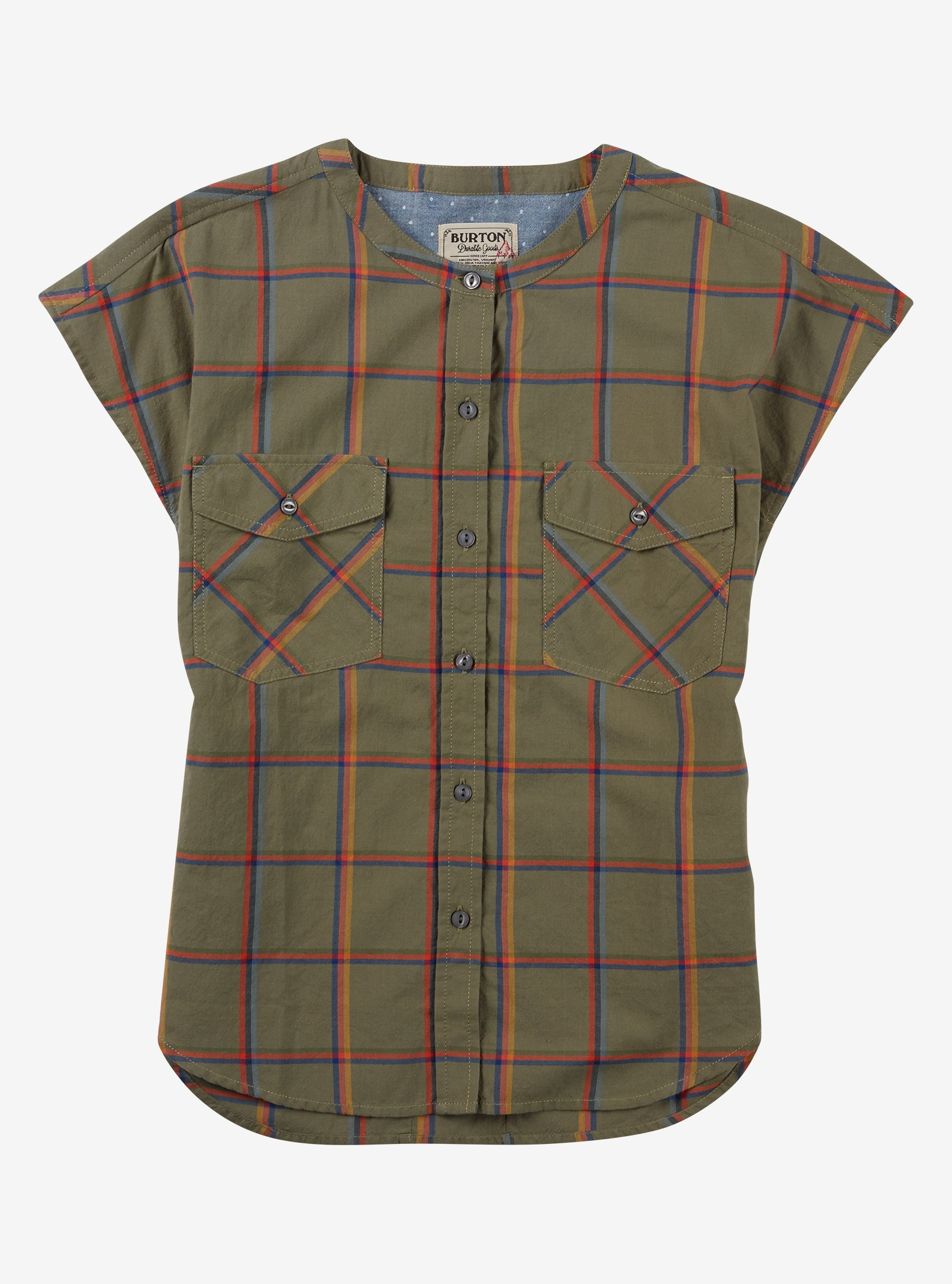 Burton Darcie Short Sleeve Shirt shown in Lichen Green Bonfire