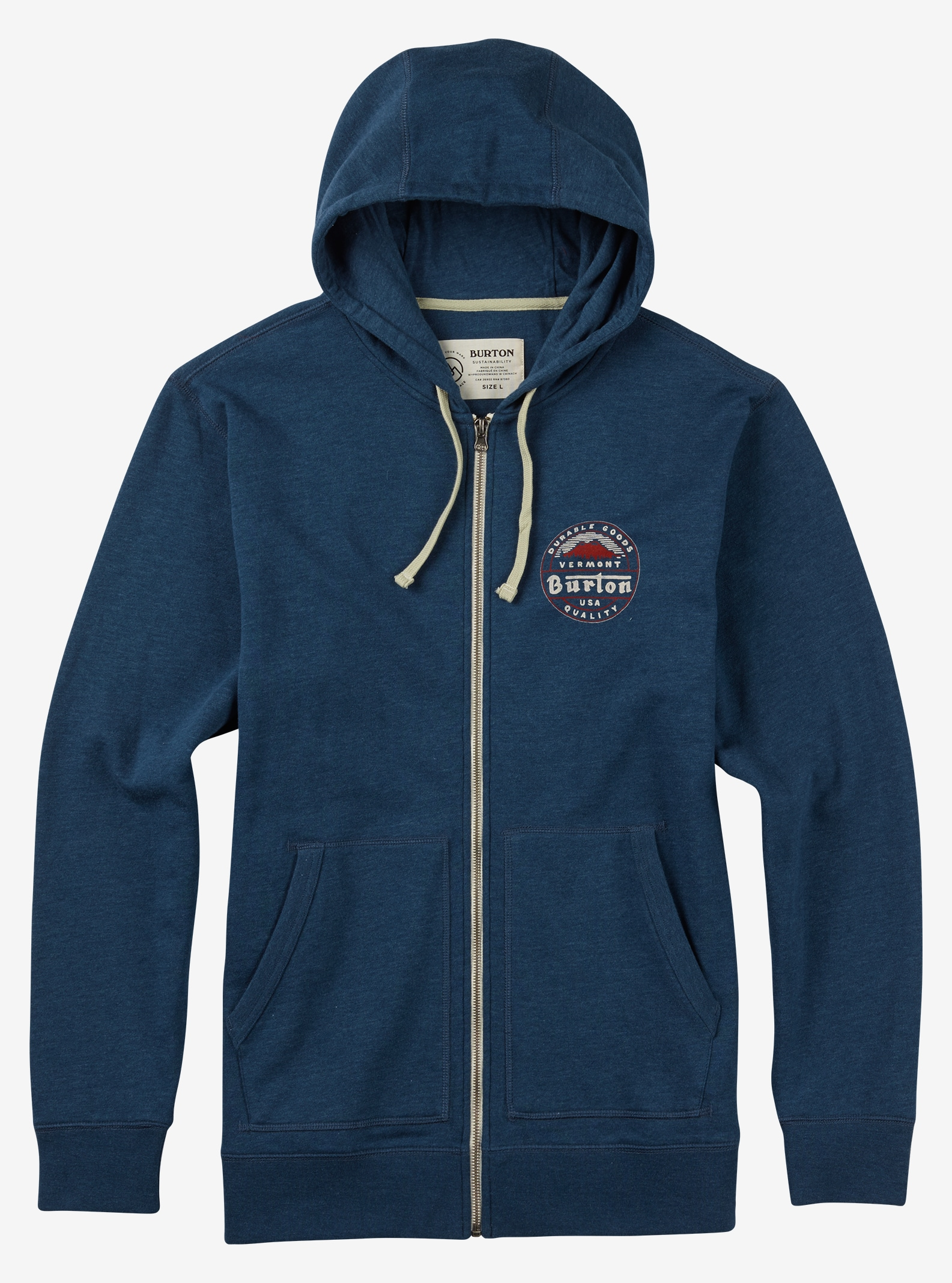 Burton Long Trail Full-Zip Hoodie shown in Indigo Heather