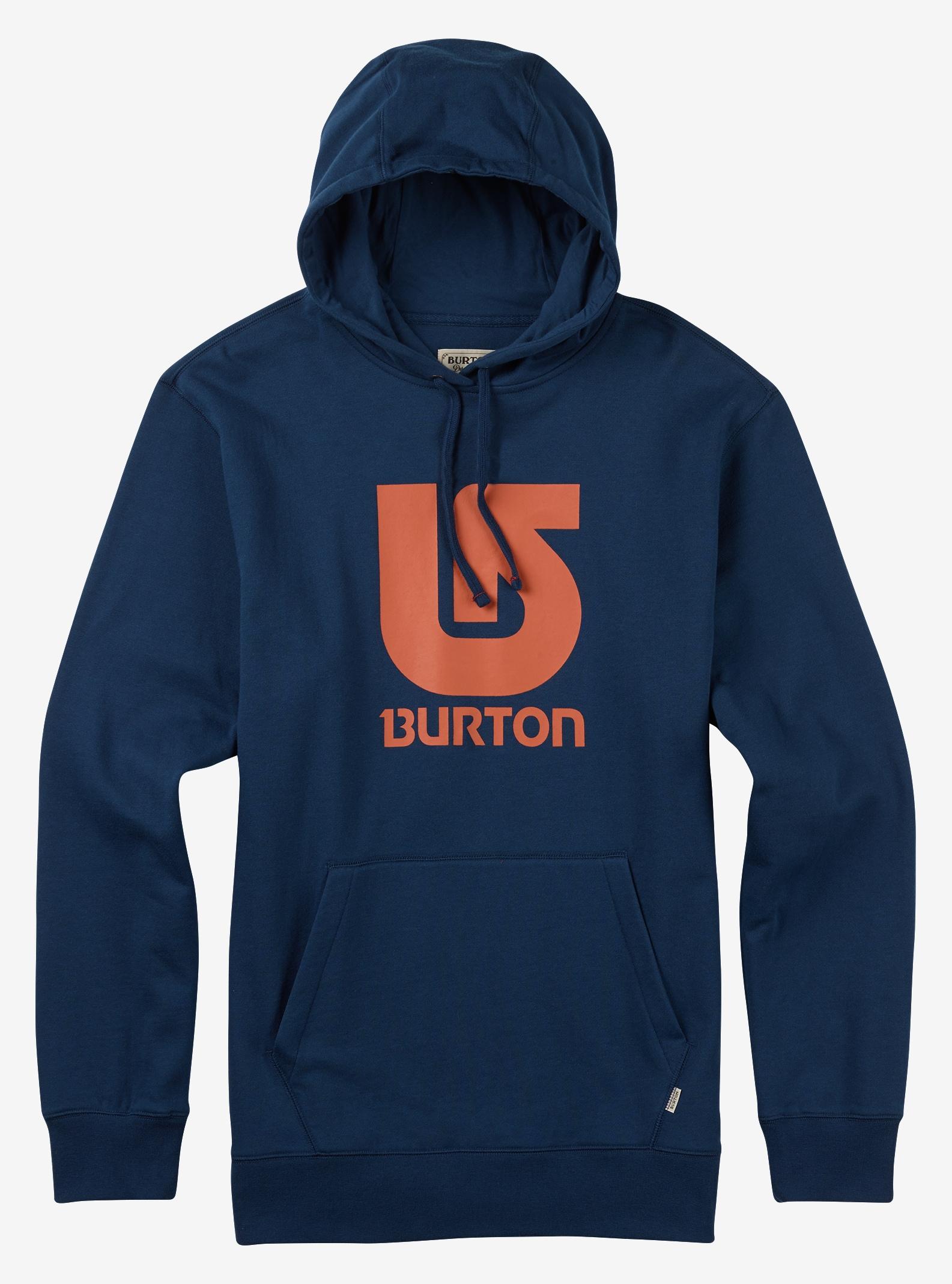 Burton Logo Vert Pullover Hoodie shown in Indigo