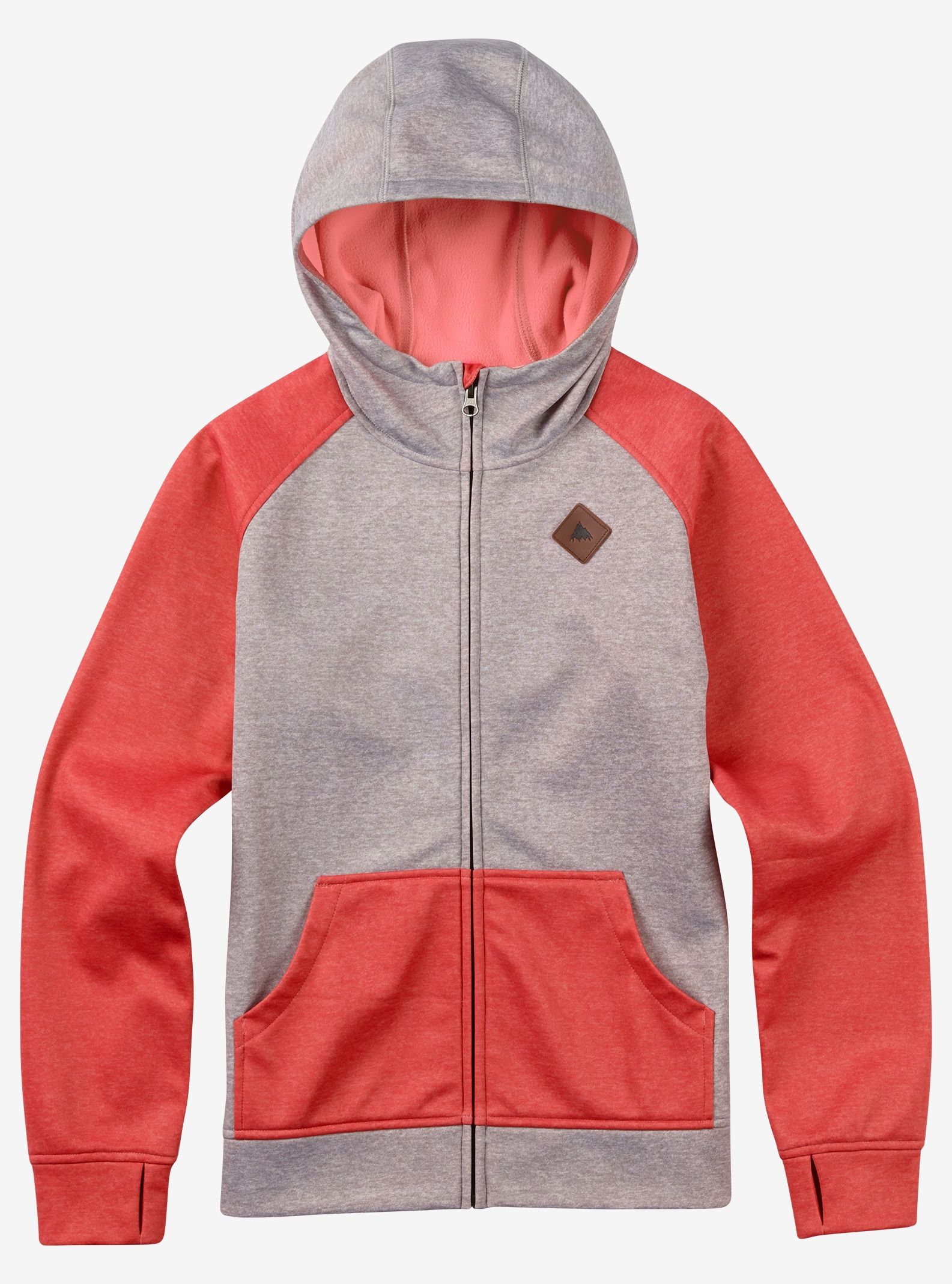 Burton Girls' Scoop Full-Zip Hoodie shown in Canvas Heather / Coral Heather