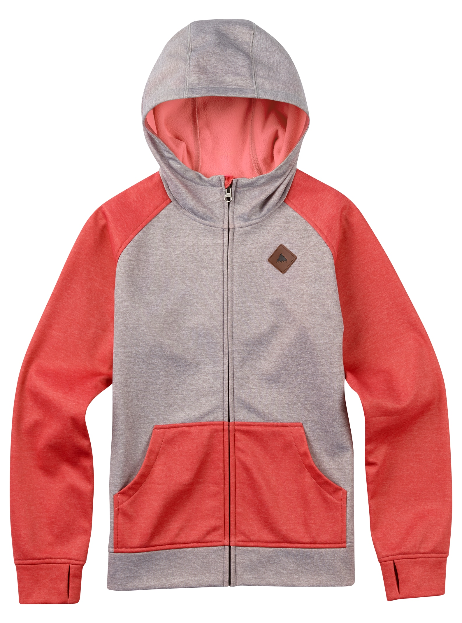 Burton - Sweat à capuche zippé Scoop fille affichage en Canvas Heather / Coral Heather